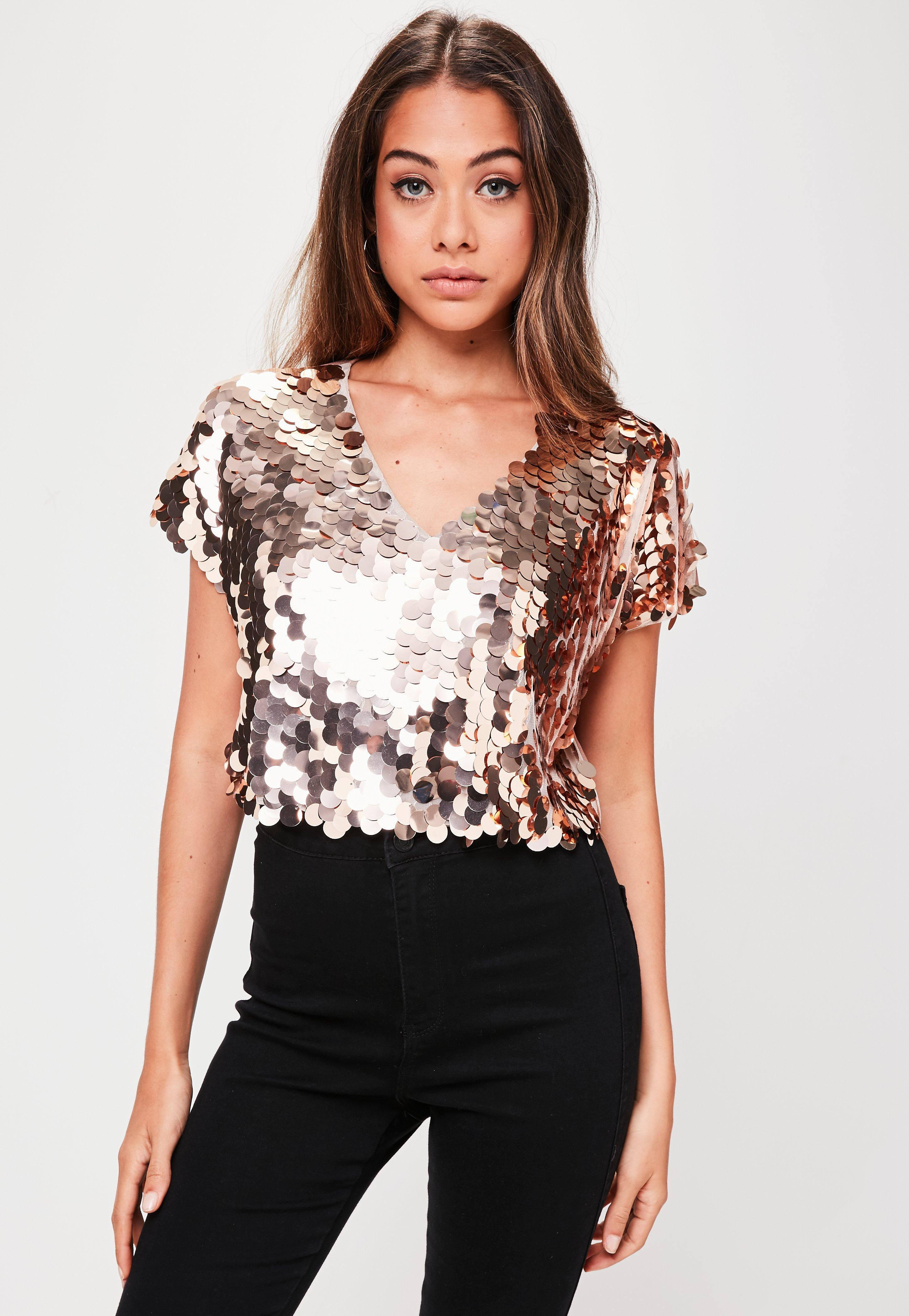 6b61e2ebb87a0 Missguided Rose Gold Sequin T-shirt in Pink - Lyst