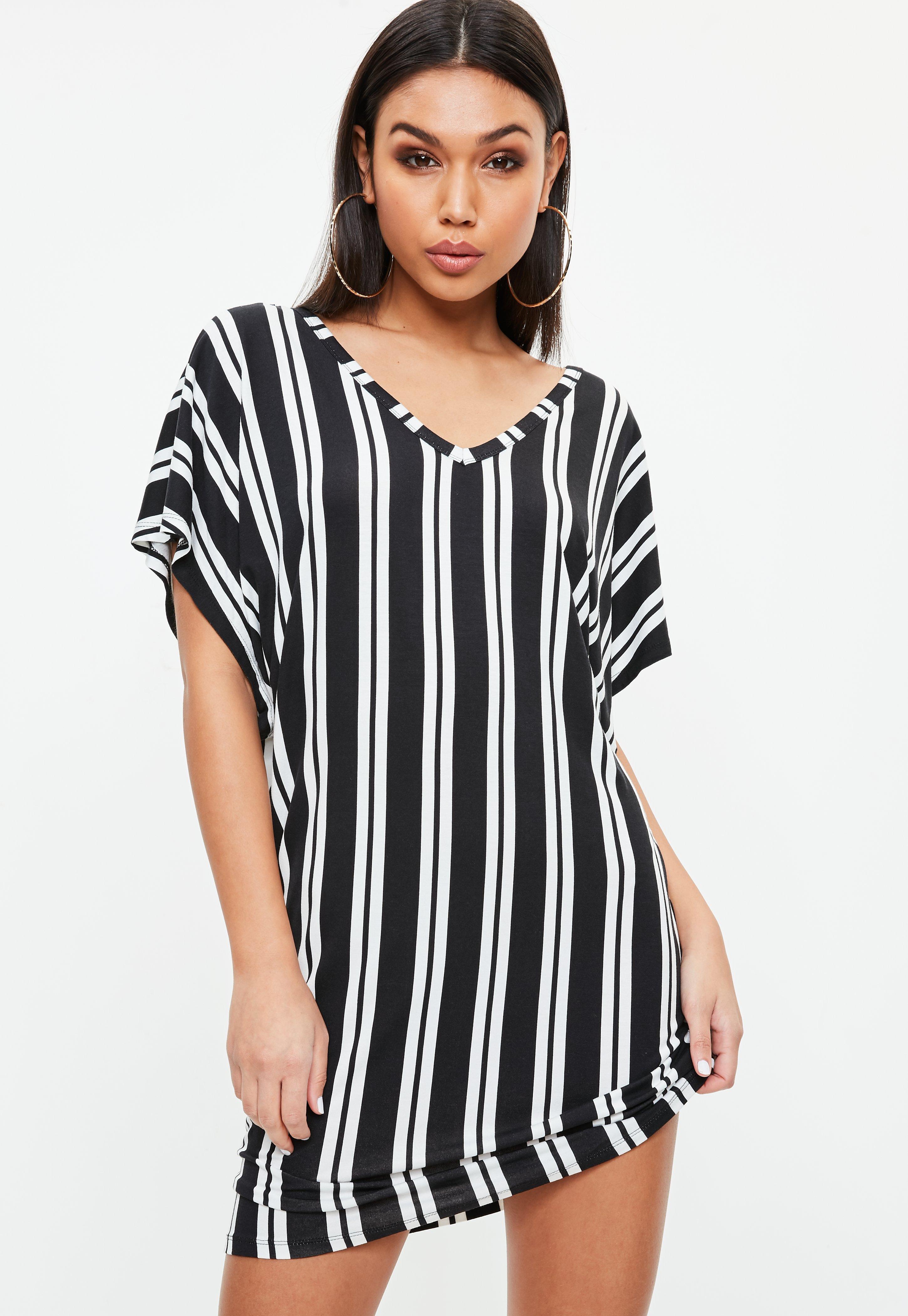 Lyst Missguided Black Stripe Wide V Neck Tshirt Dress In