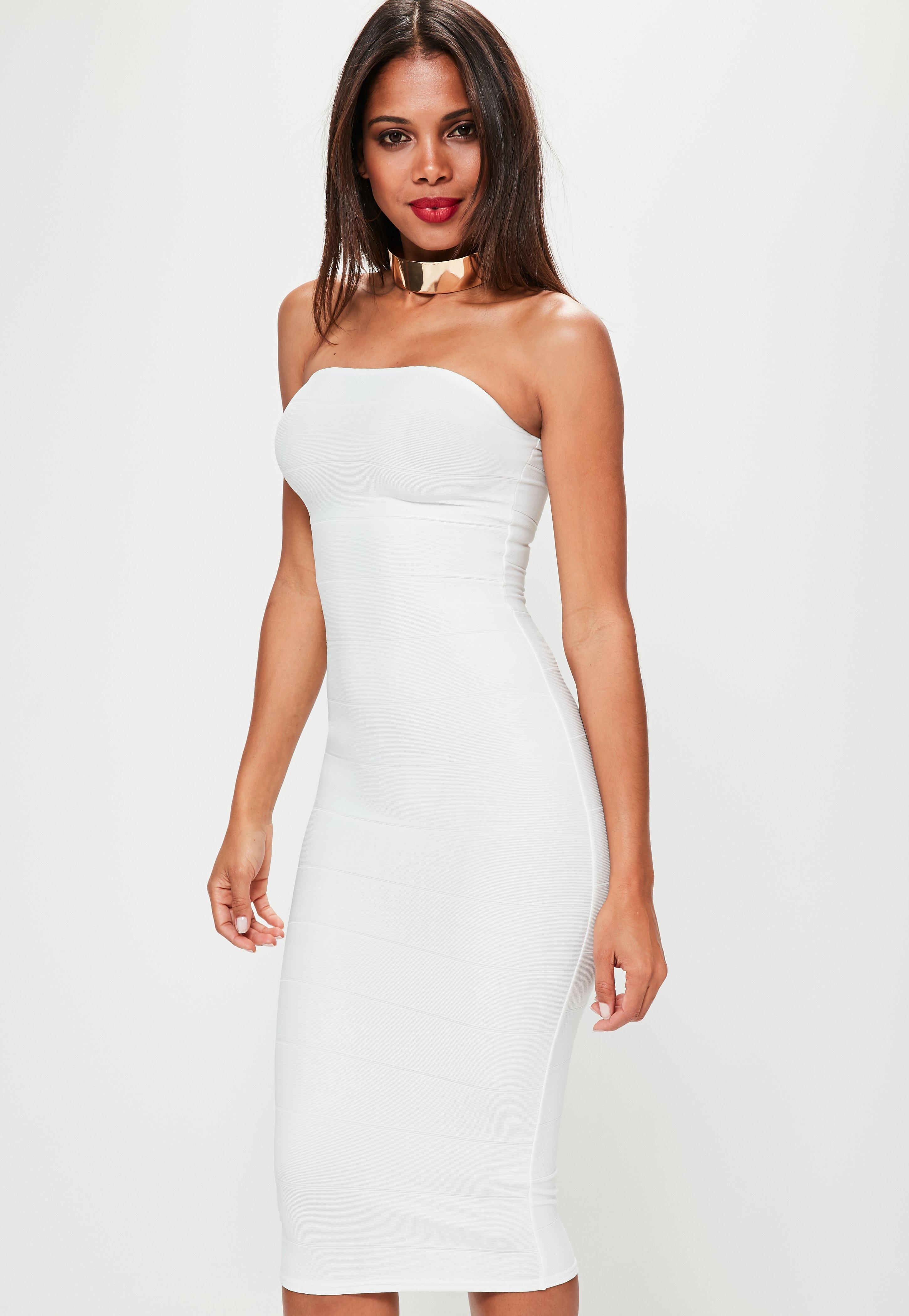 White Strapless Bodycon Dress