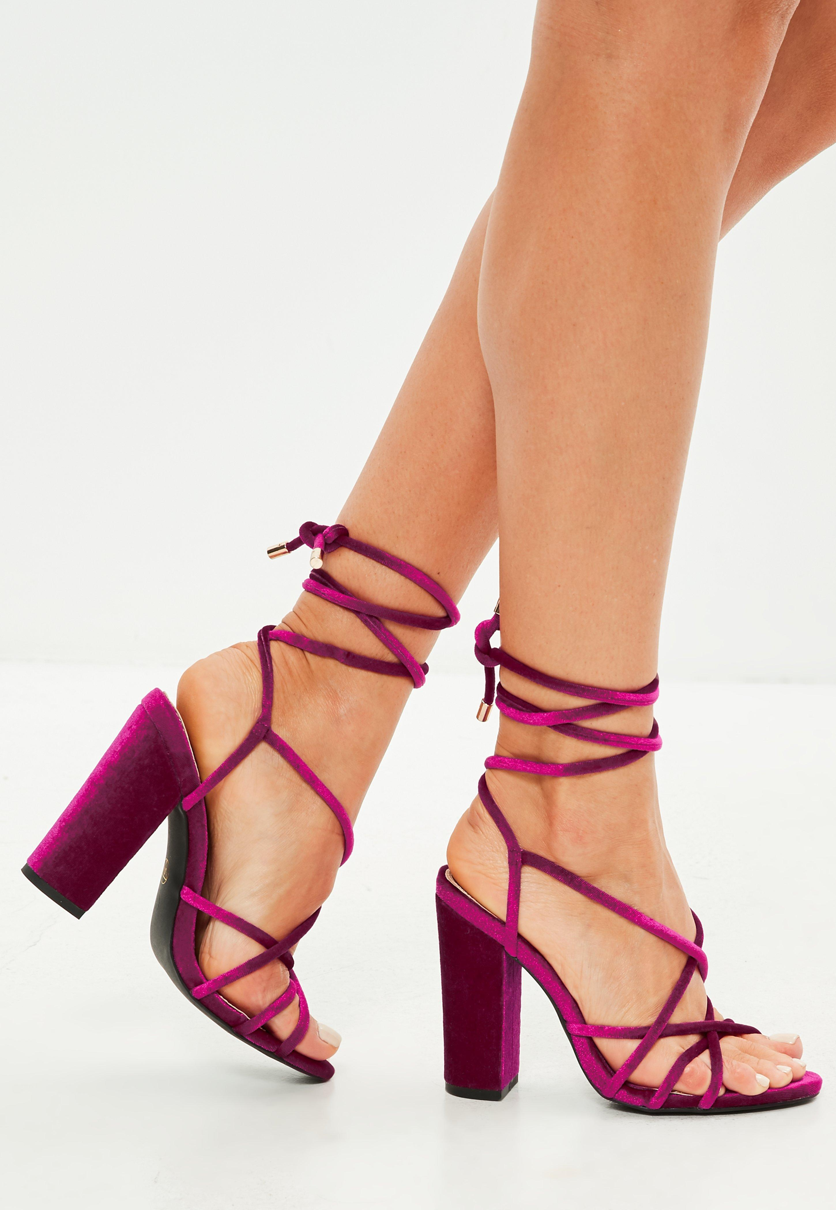 2b7f0efe59e Lyst - Missguided Pink Velvet Multi Strap Block Heel Sandals in Pink