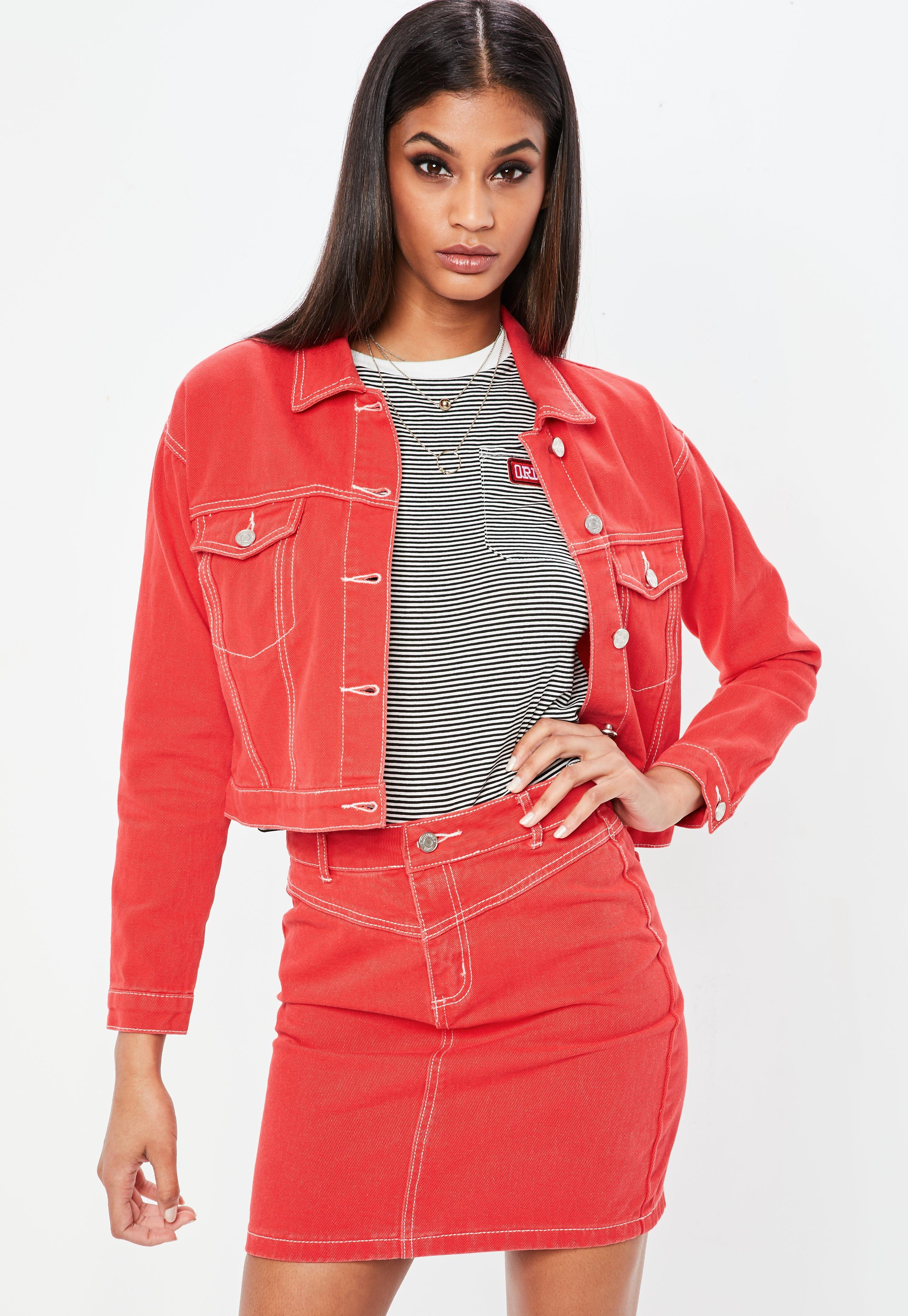 c90925489 Lyst - Missguided Petite Red Contrast Stitch Cropped Denim Jacket in Red
