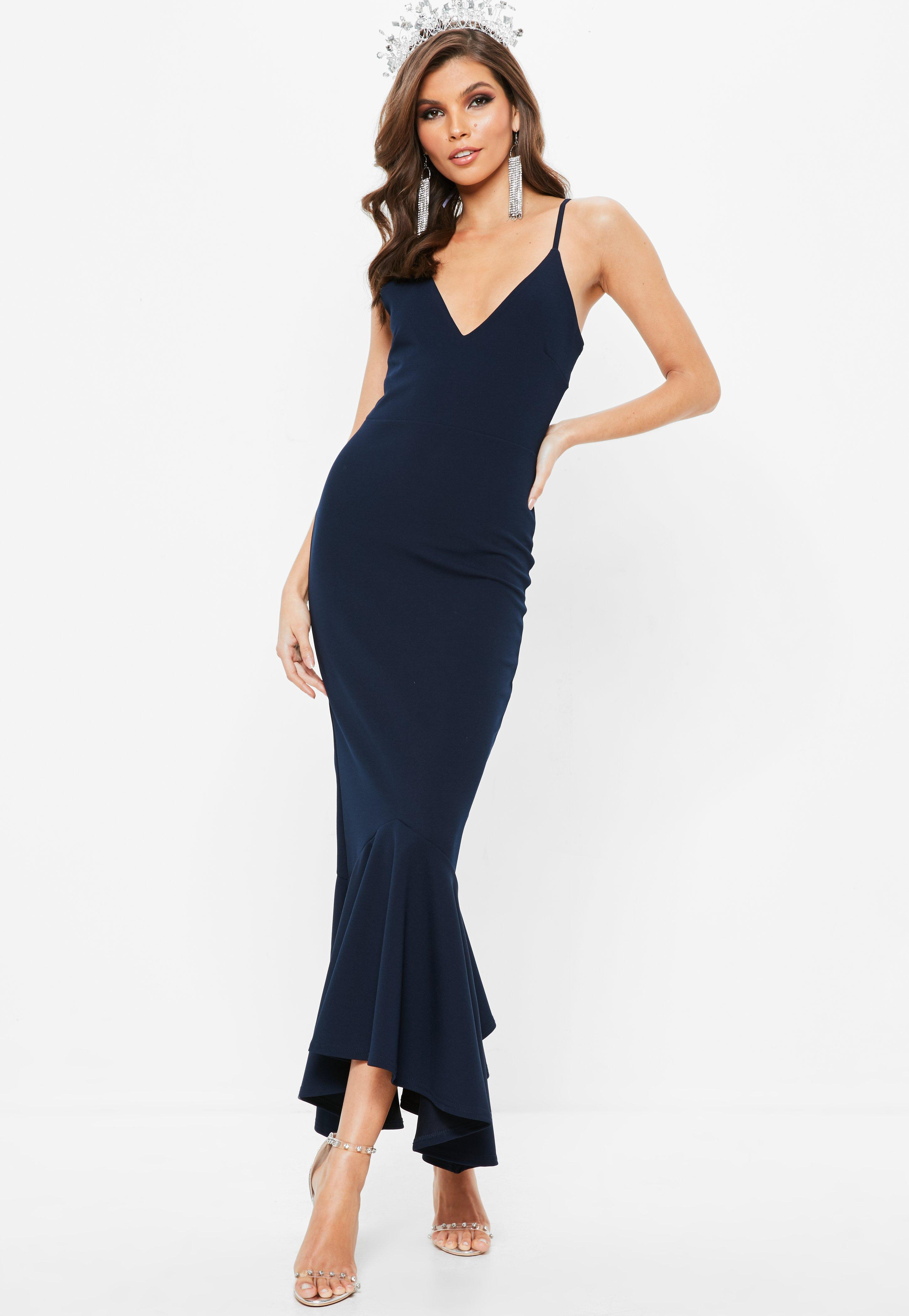 31a3a61879 Missguided Navy Plunge Split Fishtail Maxi Dress in Blue - Lyst