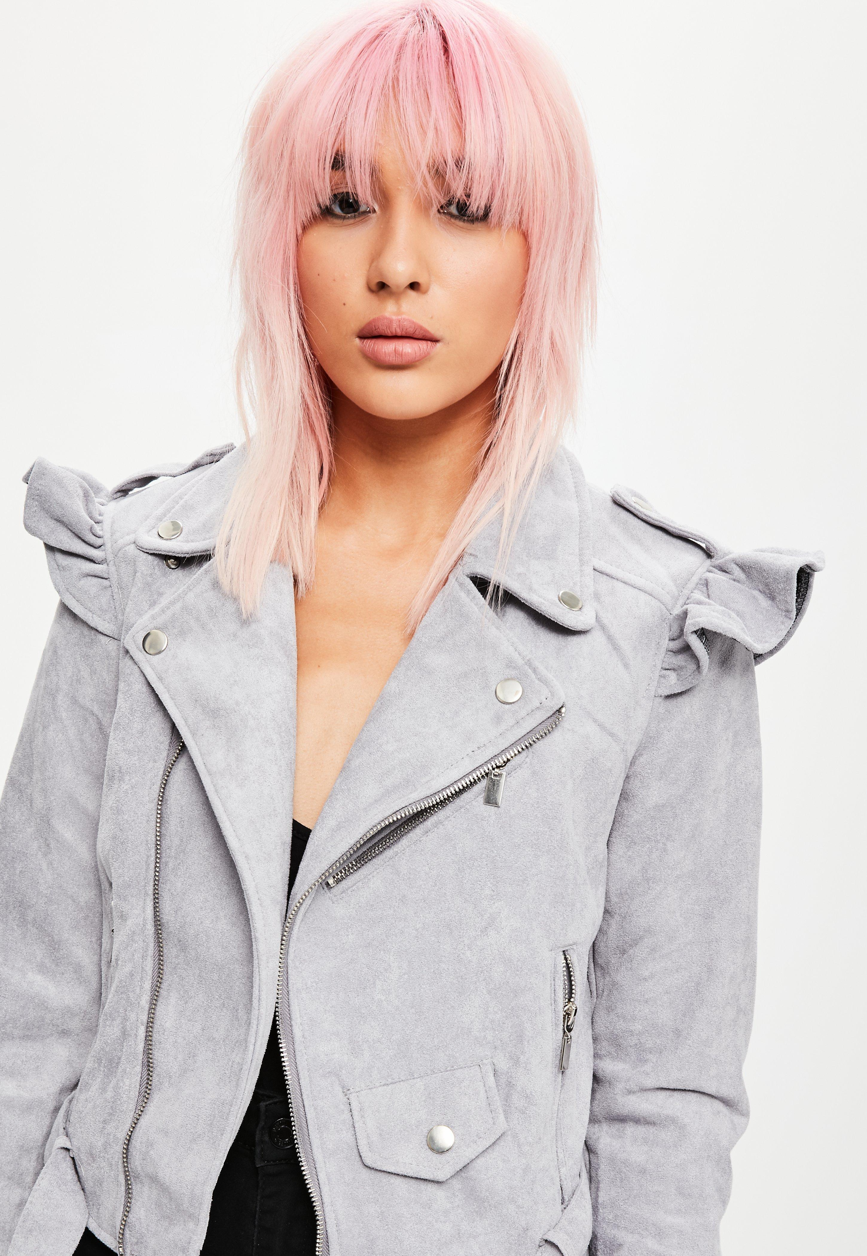 03d20a89f Lyst - Missguided Grey Frill Shoulder Faux Suede Biker Jacket in Gray