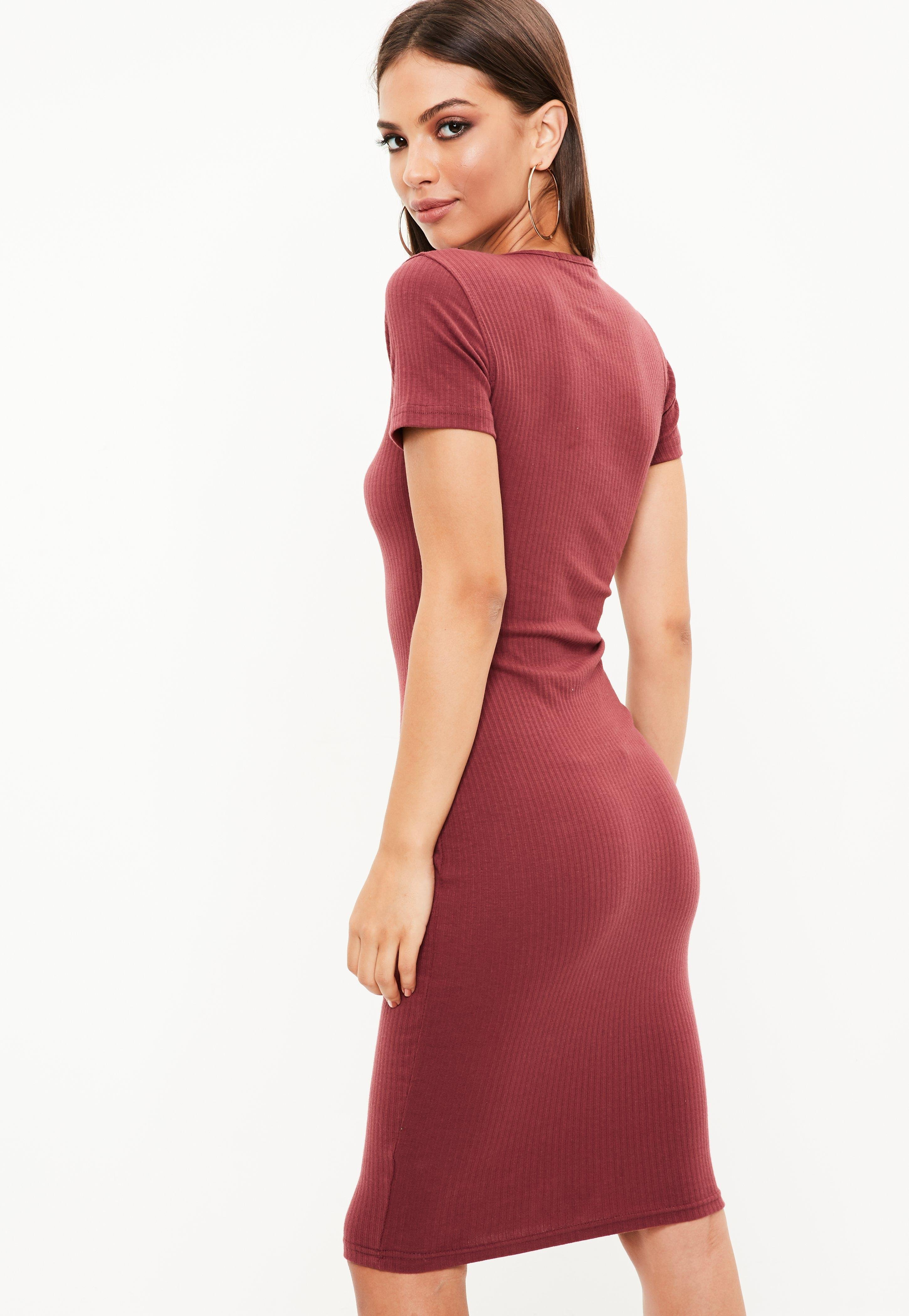 e04d6f0c5785 Lyst - Missguided Burgundy Short Sleeve Ribbed Midi Dress in Red