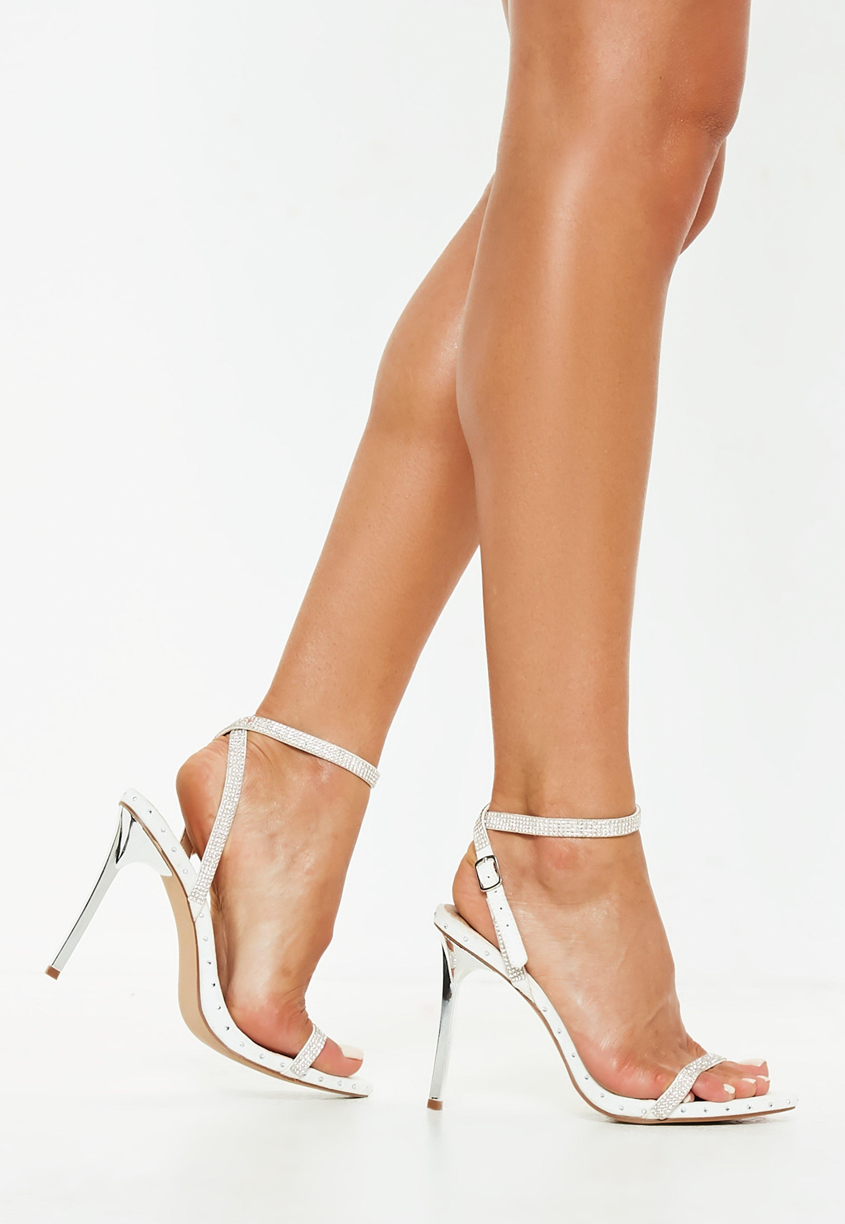 32f4bbba86c5 Lyst - Missguided White Embellished Studded Barely There Heels in White