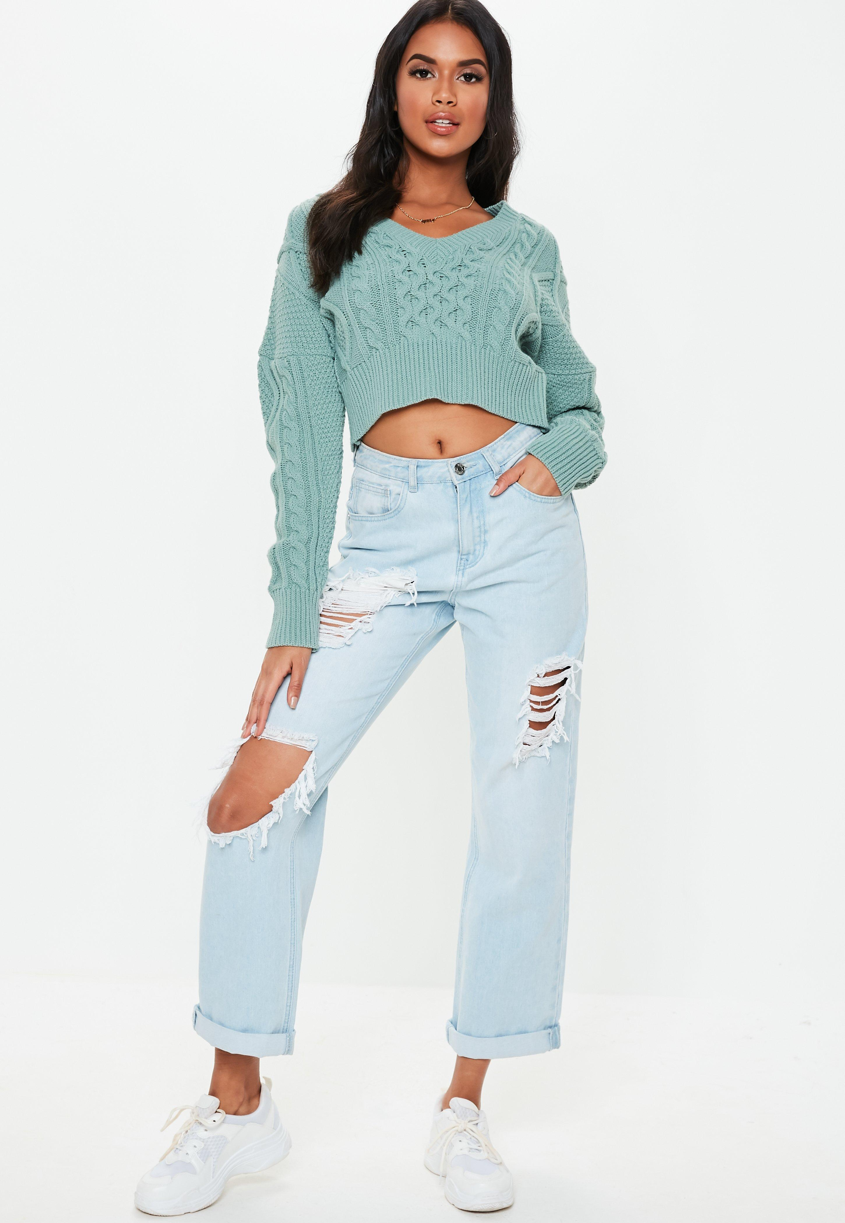 ce232c596db01e Missguided - Green V Neck Cable Knitted Cropped Jumper - Lyst. View  fullscreen
