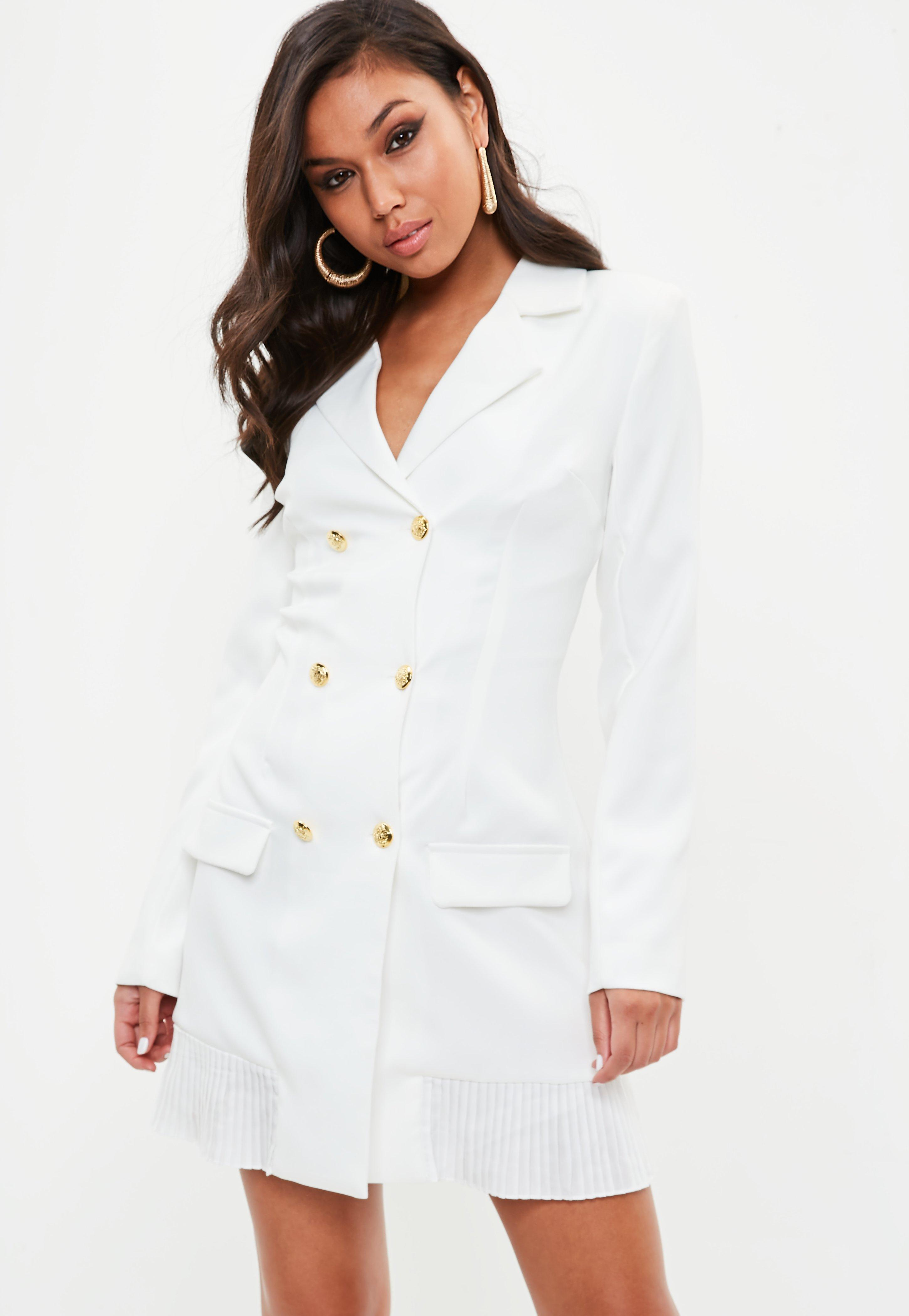 eb3be578211b8a Lyst - Missguided Tall White Tailored Gold Button Blazer Dress in White