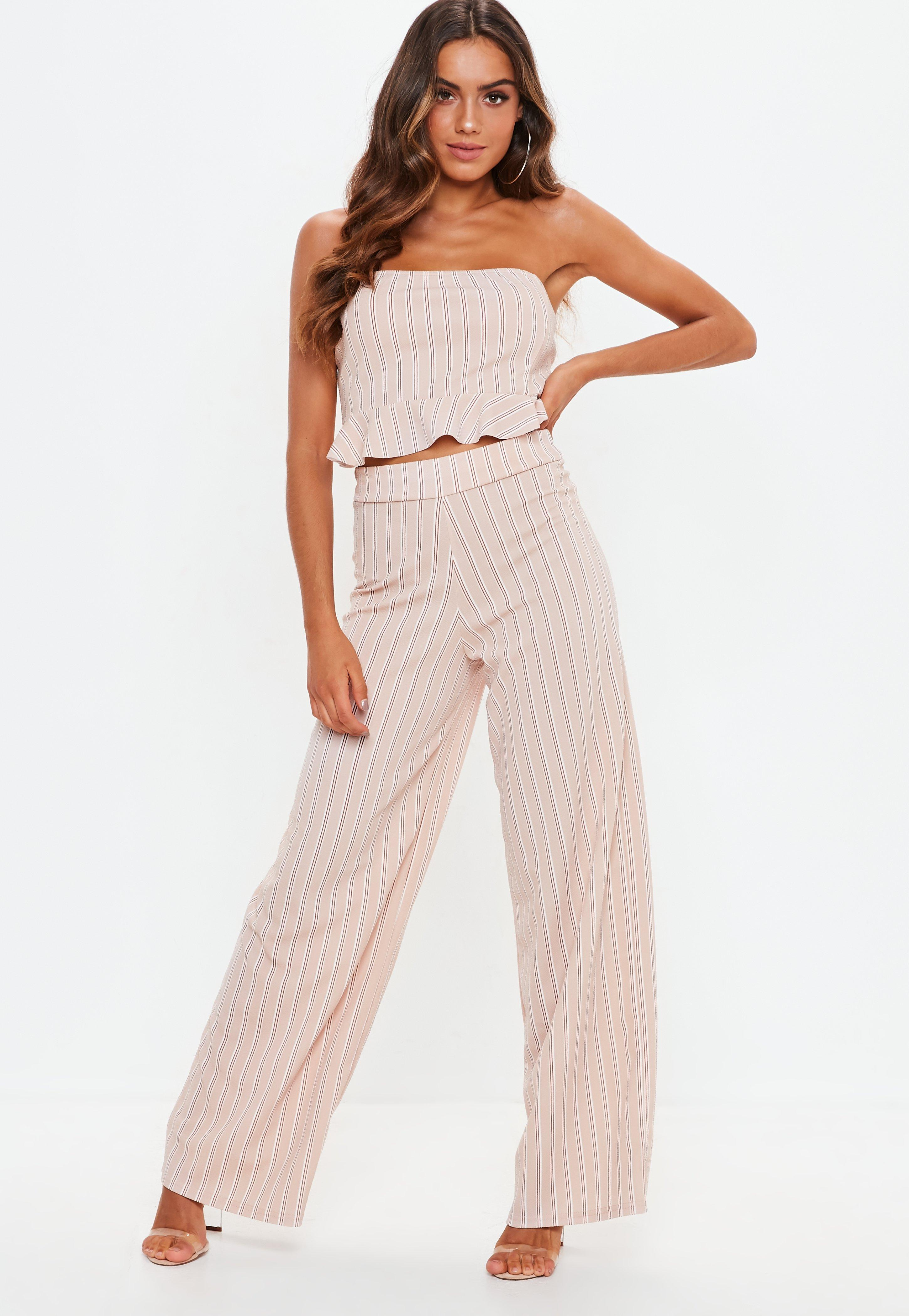 94b55ee0cf2b1 Lyst - Missguided Pink Striped Wide Leg Pants in Pink