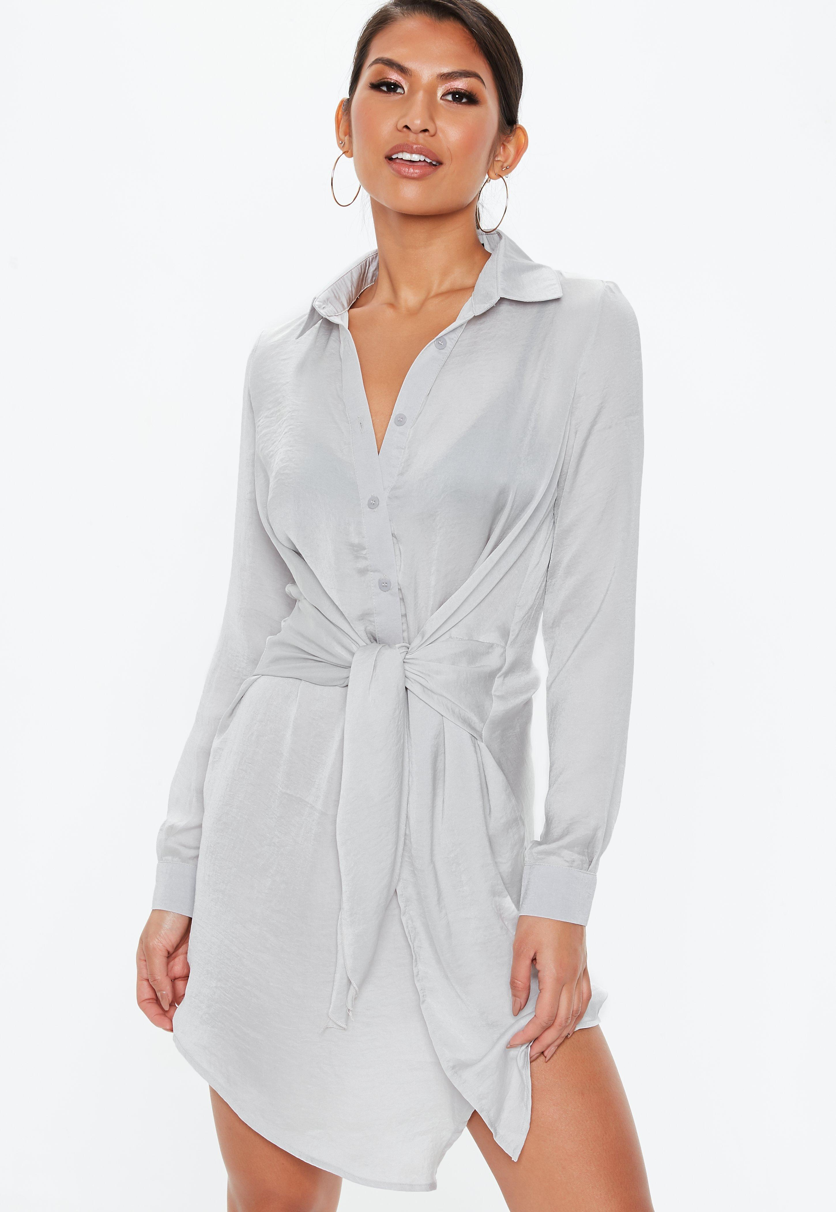 d2237711872 Lyst - Missguided Gray Tie Waist Shirt Dress in Gray - Save 8%