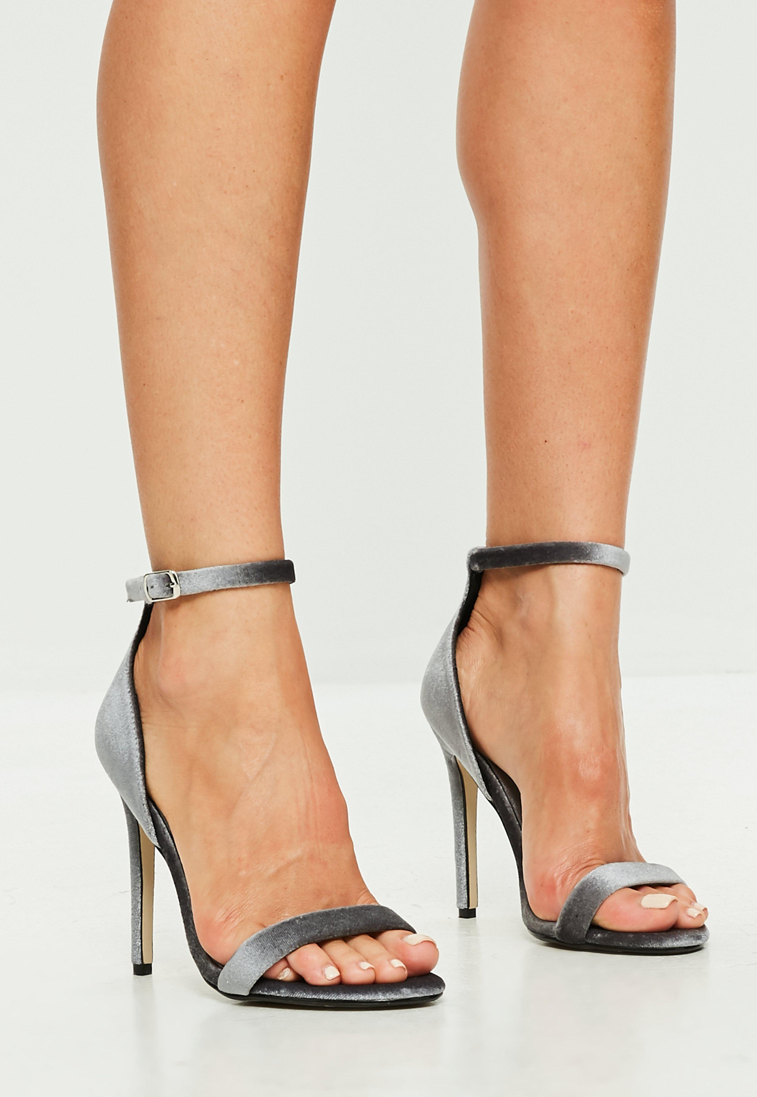 2018b08e4c7 Lyst - Missguided Grey Velvet Strappy Barely There Heel Sandals in Gray