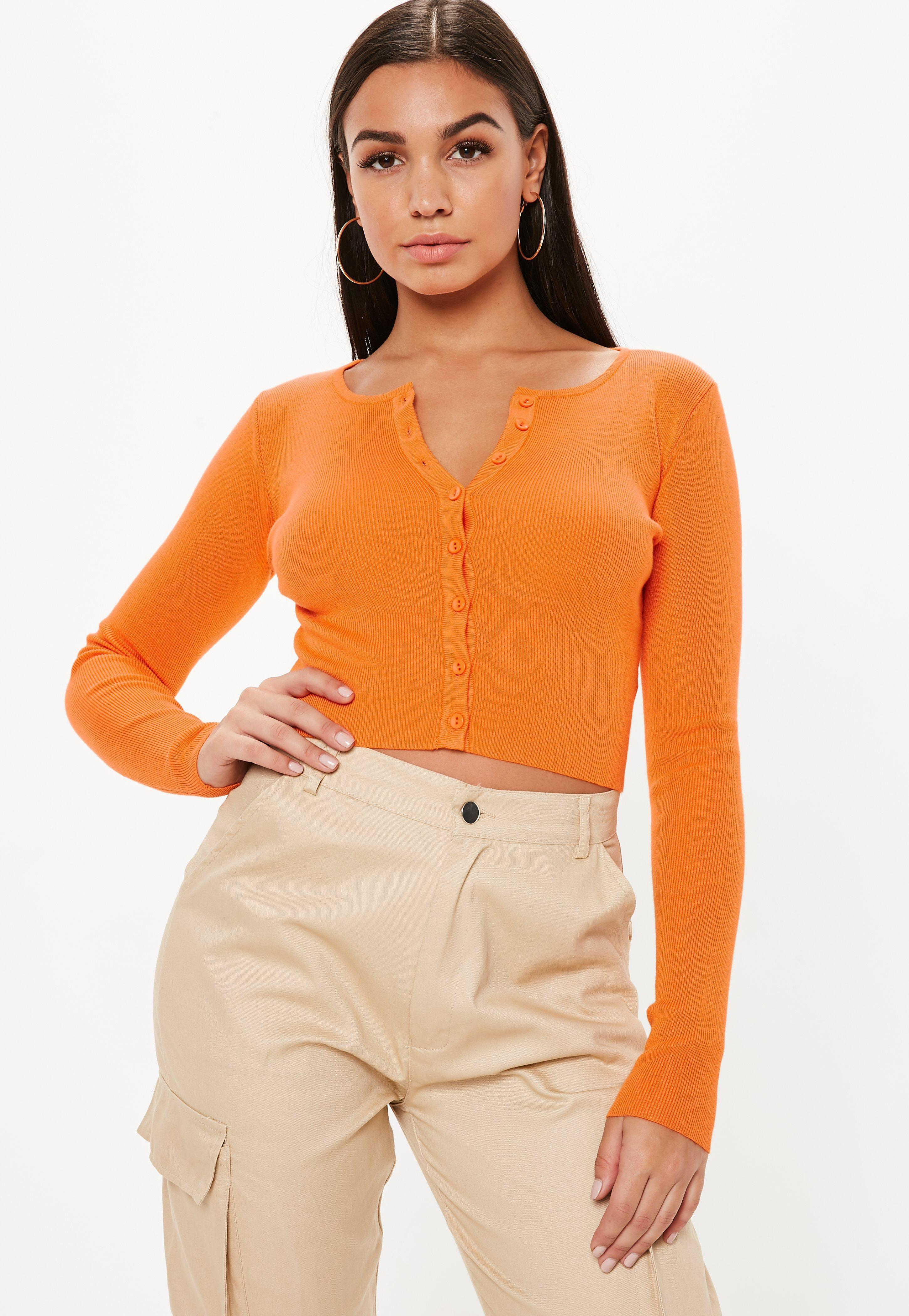 d89803882a3fd0 Lyst - Missguided Orange Long Sleeve Knitted Top in Orange
