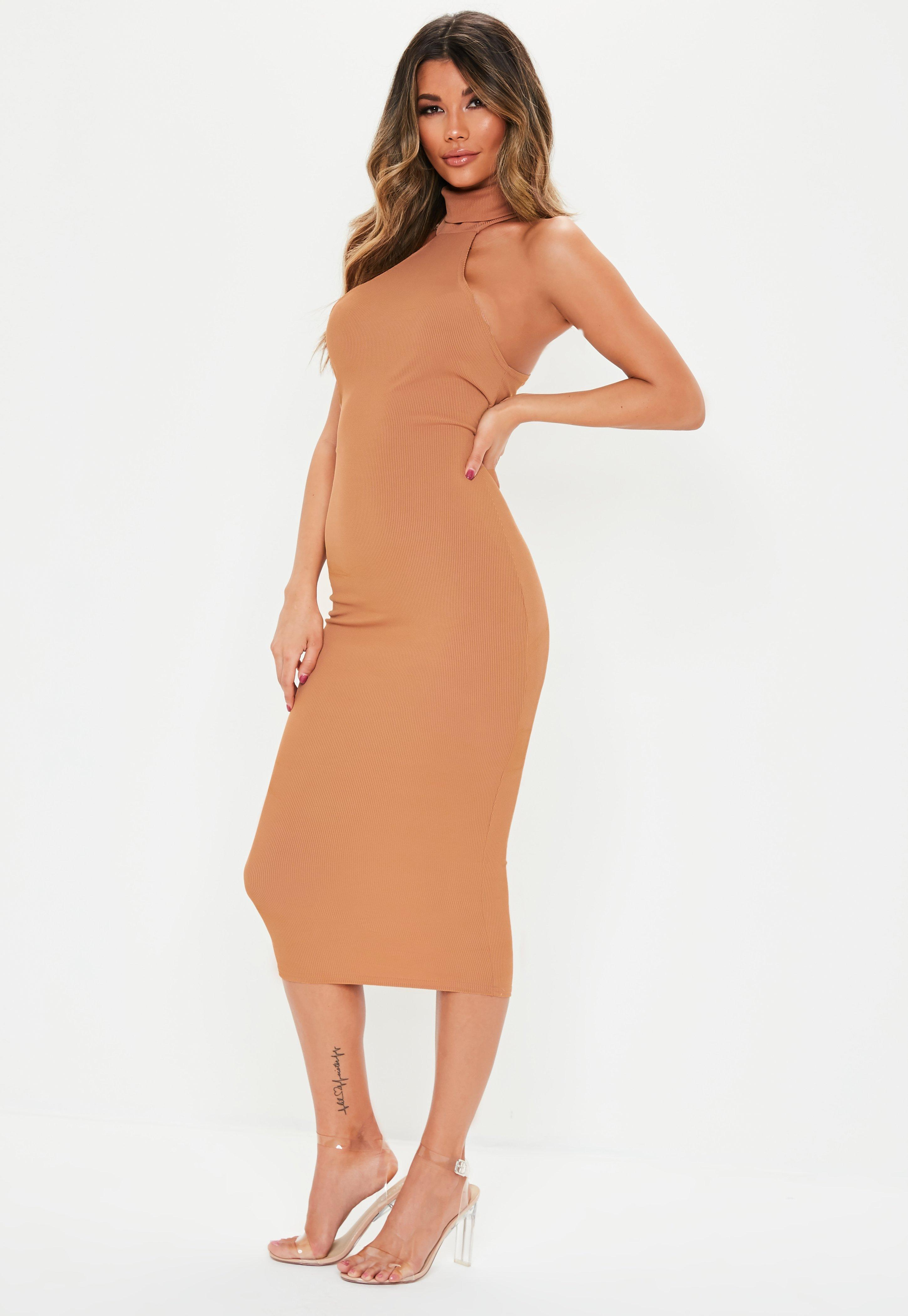 89cc62a5f730 Missguided Camel High Neck Ribbed Midi Dress in Natural - Lyst