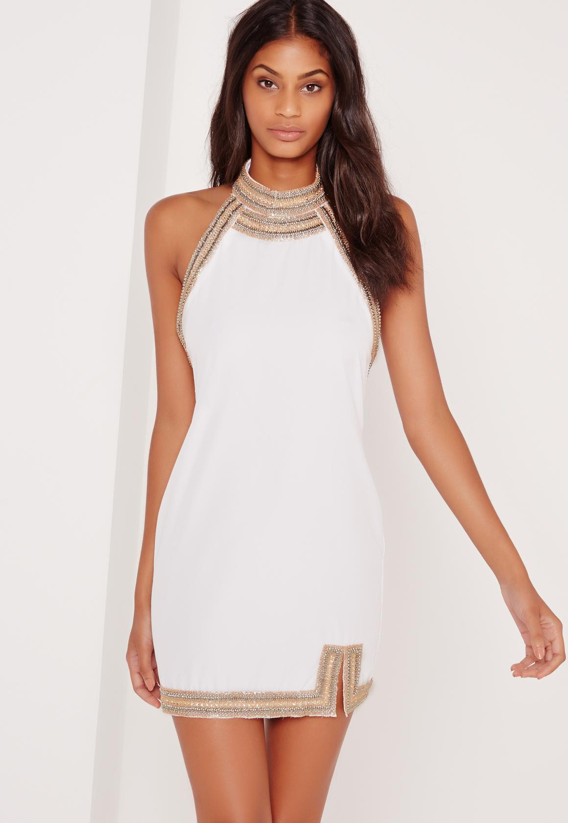 b8b95fca83b4 Missguided Embellished Neck Detail Halter Swing Dress White in White ...