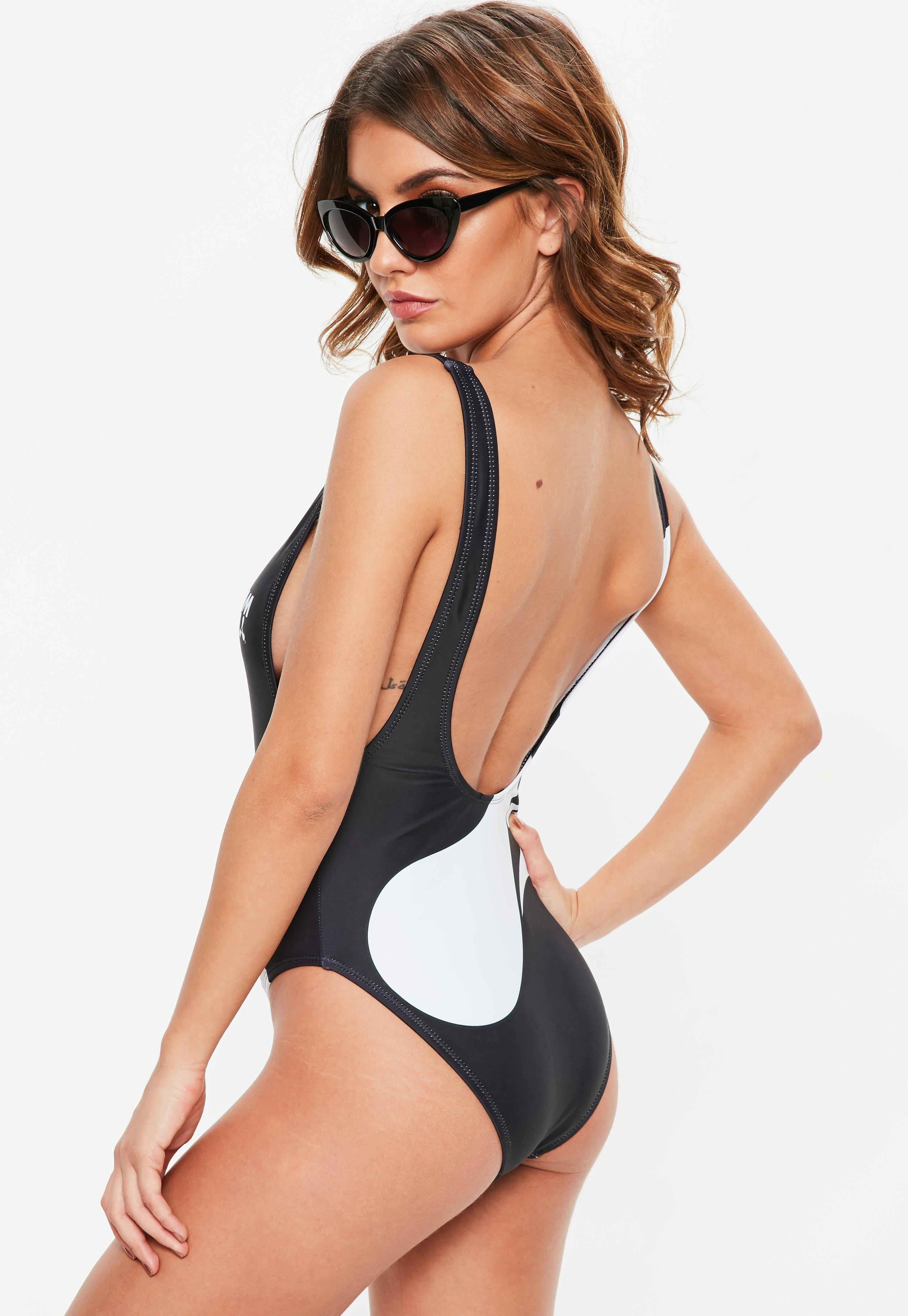 990bc2fd62 Lyst - Missguided Black Cream Ibiza Low Side Swimsuit in Black