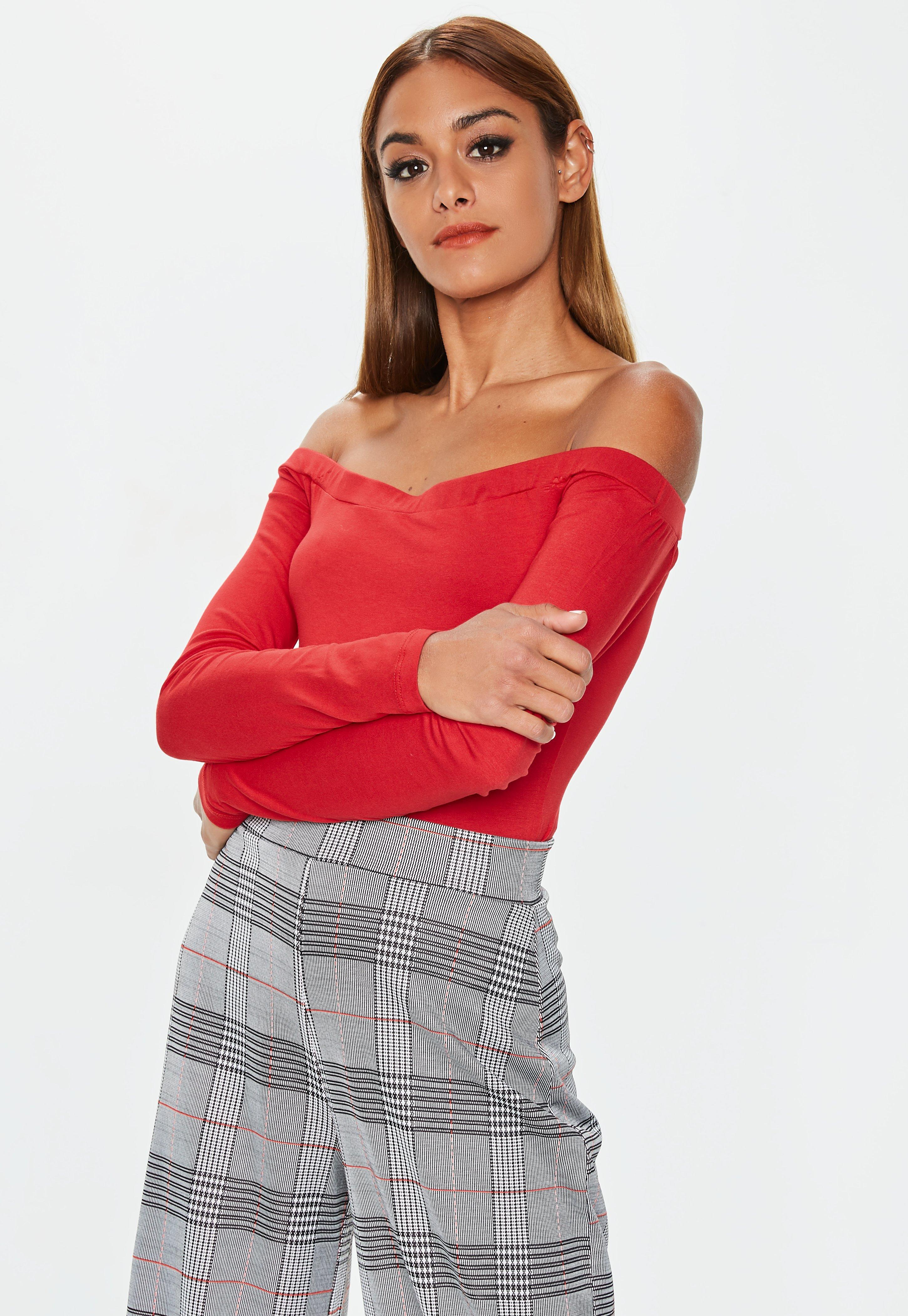 2256cf85aa Lyst - Missguided Red Bardot Long Sleeve Bodysuit in Red