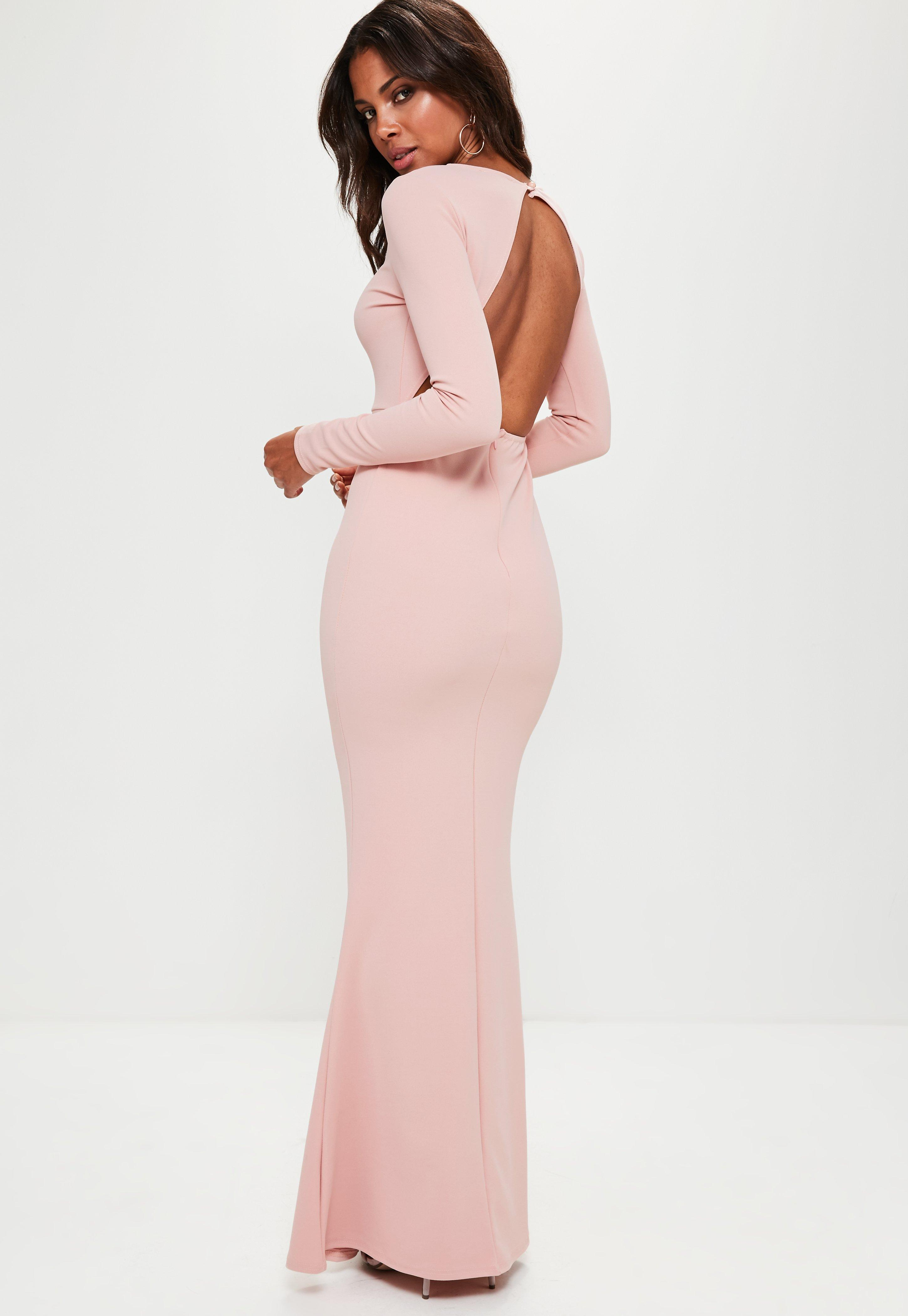 b31a0a0418eb Lyst - Missguided Pink Long Sleeve Open Back Maxi Dress in Pink