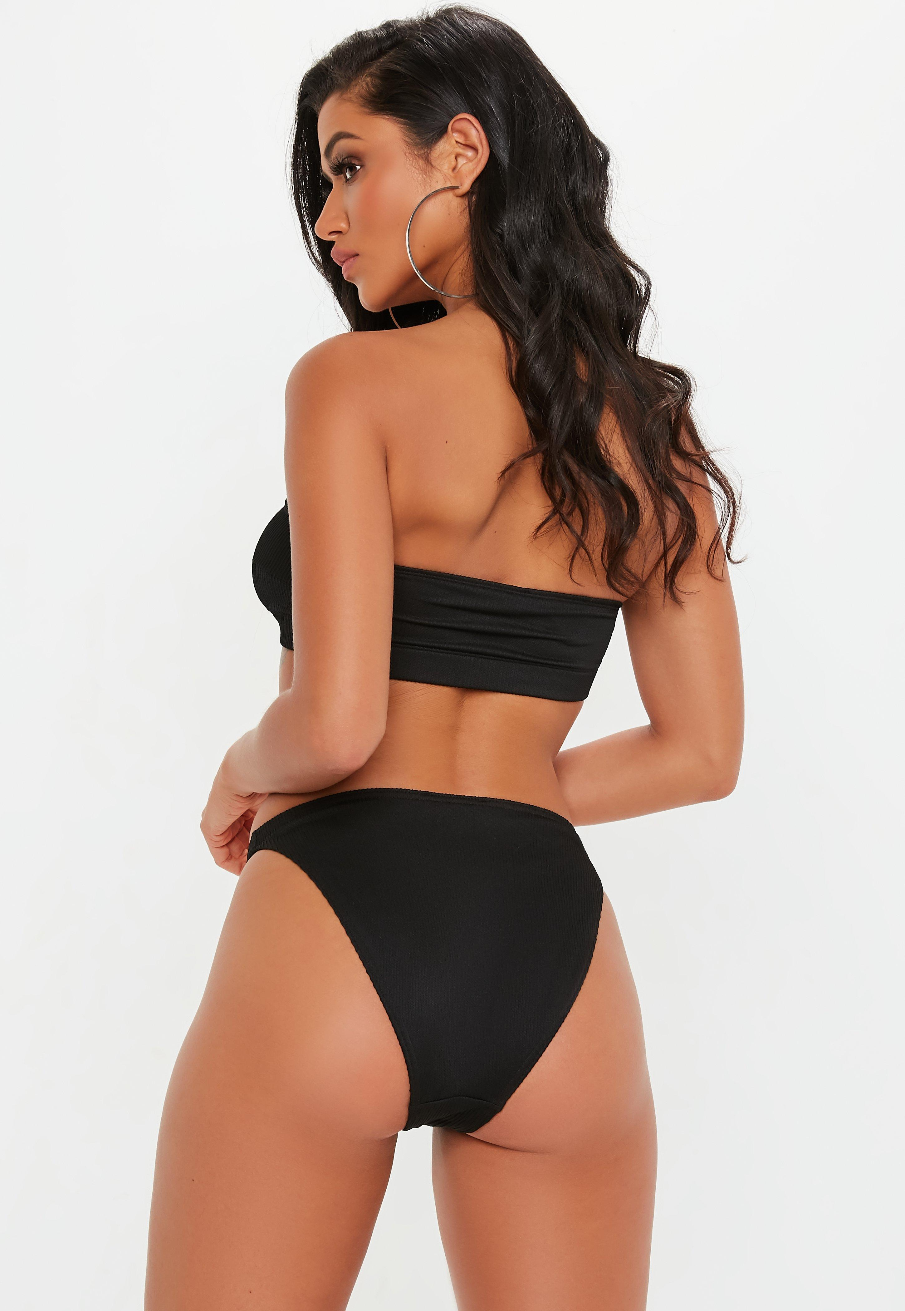 6e5a9094cc Missguided Black Ribbed Mix And Match Bandeau Top in Black - Lyst