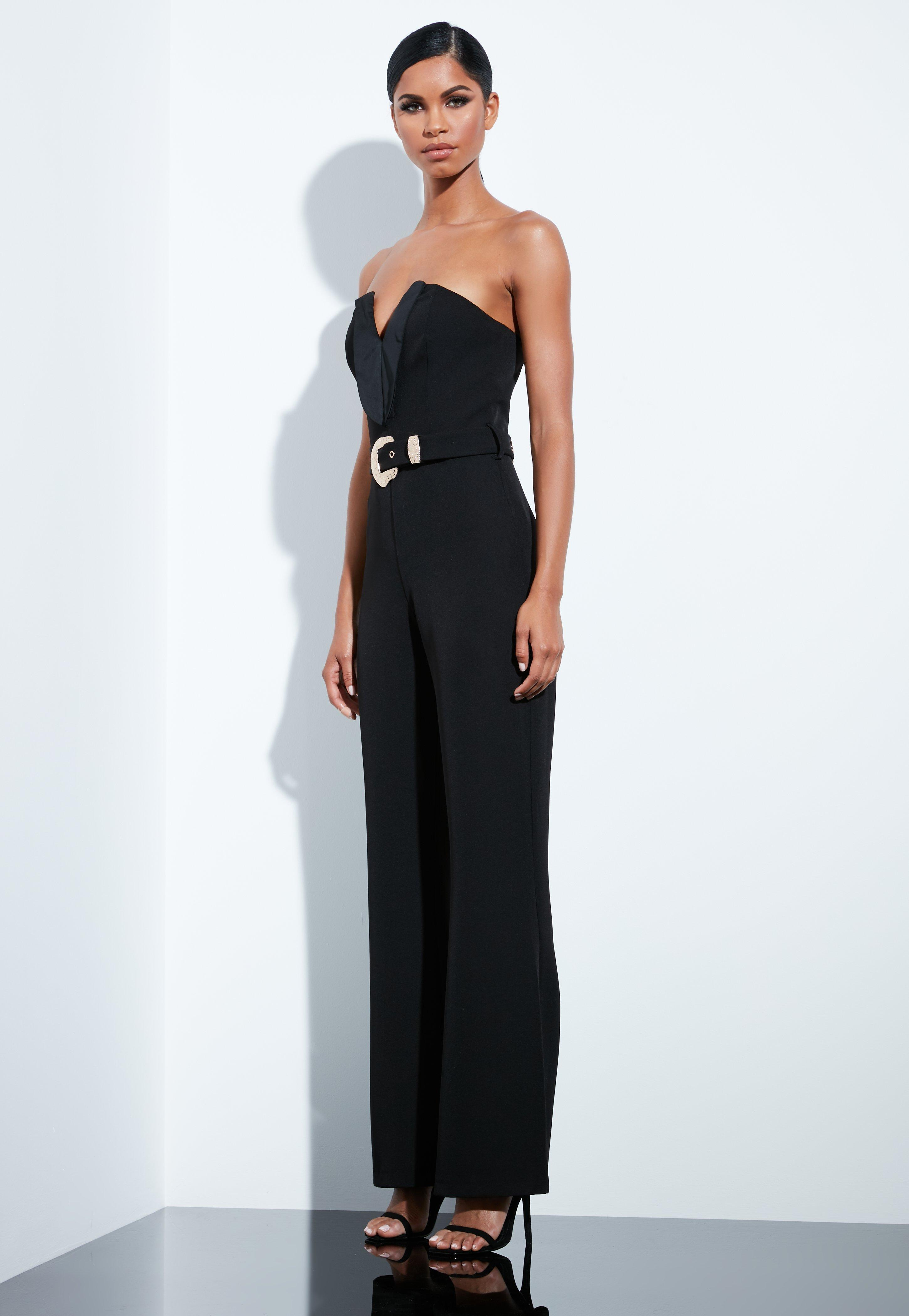 9b95fd3e740 Missguided - Peace + Love Black Plunge Gold Belted Jumpsuit - Lyst. View  fullscreen