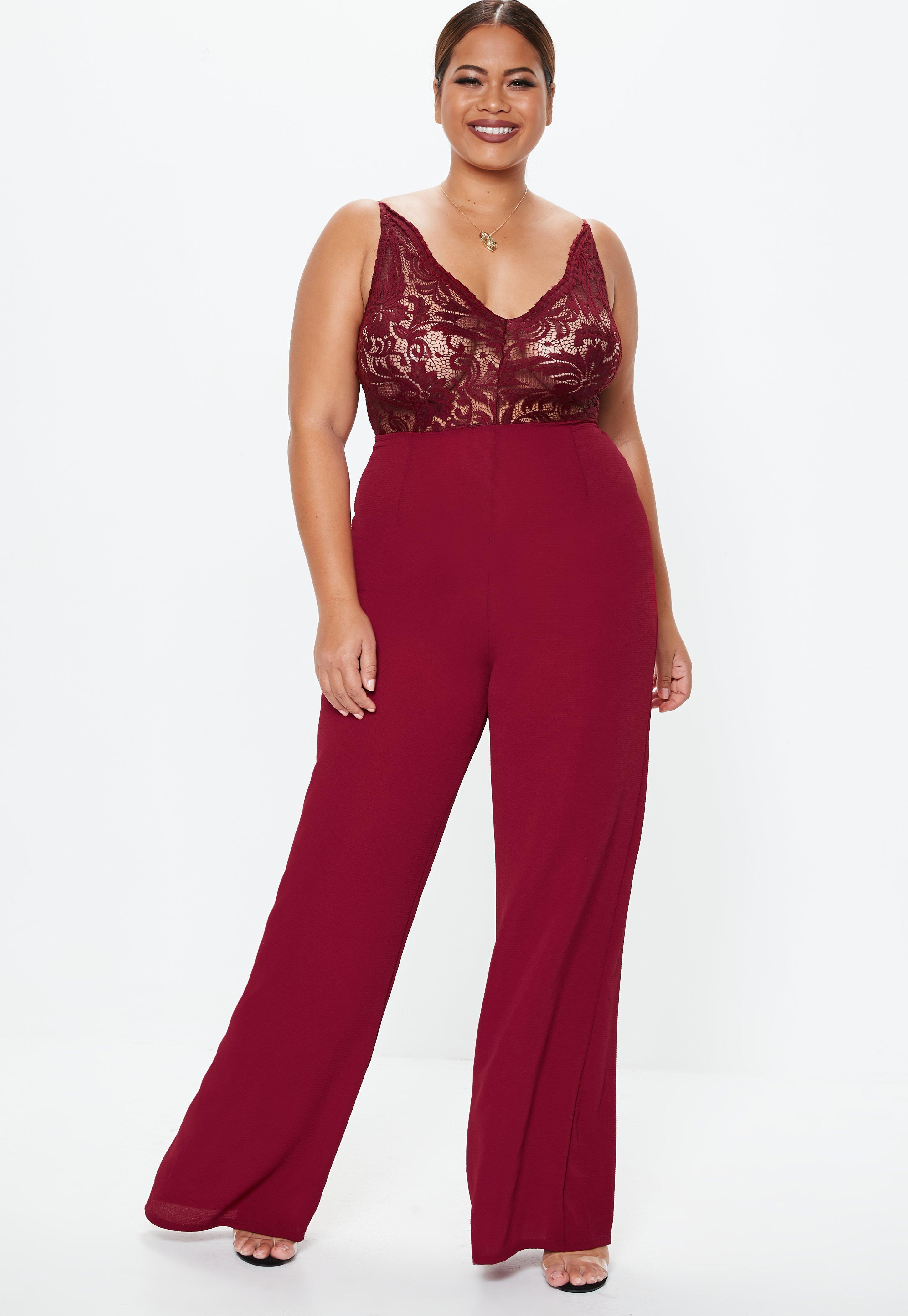10c6779b858 Missguided. Women s Red Plus Size Burgundy Lace Plunge Wide Leg Jumpsuit