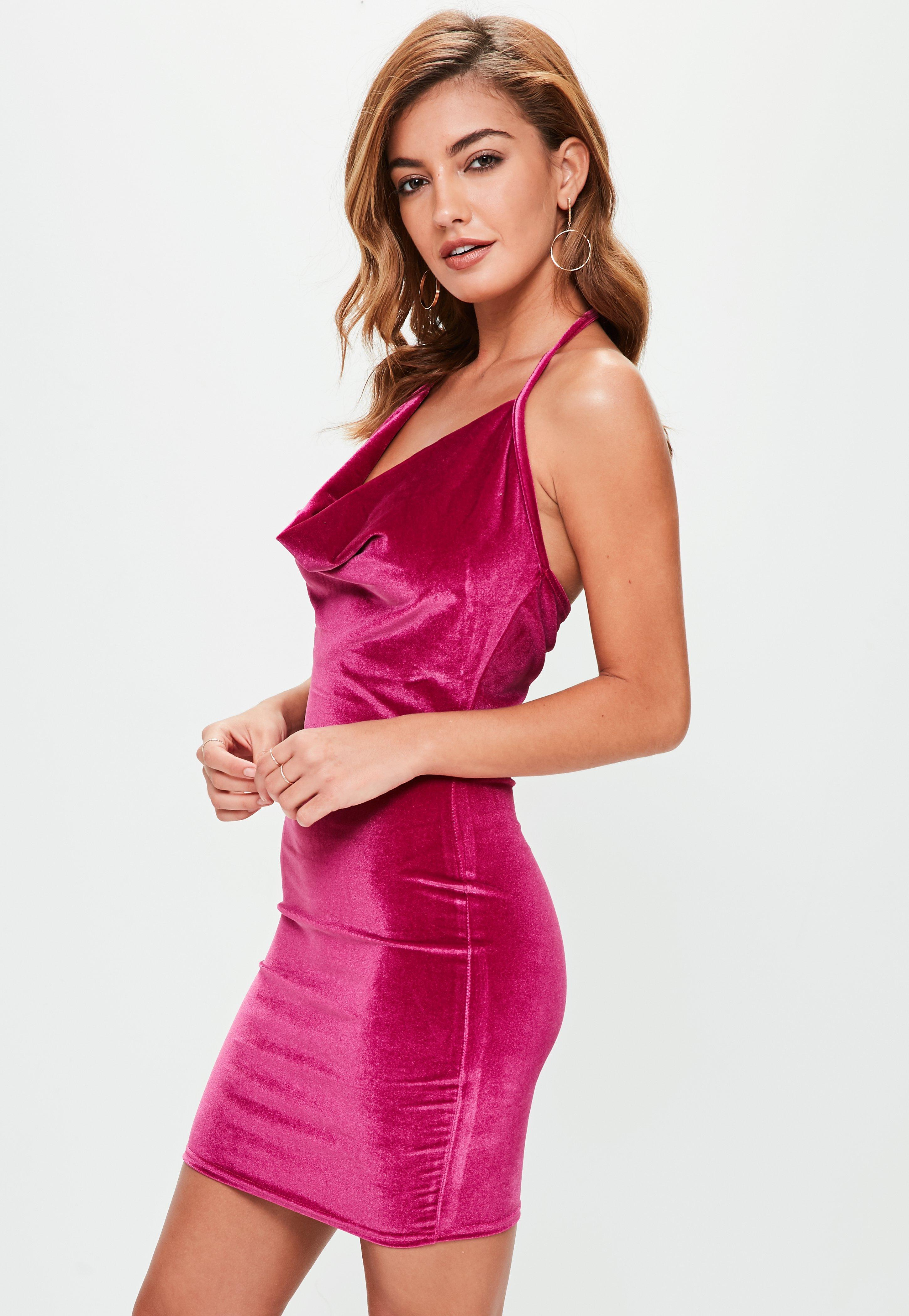 37a941b292 Lyst - Missguided Tall Pink Velvet Halterneck Cowl Dress in Pink