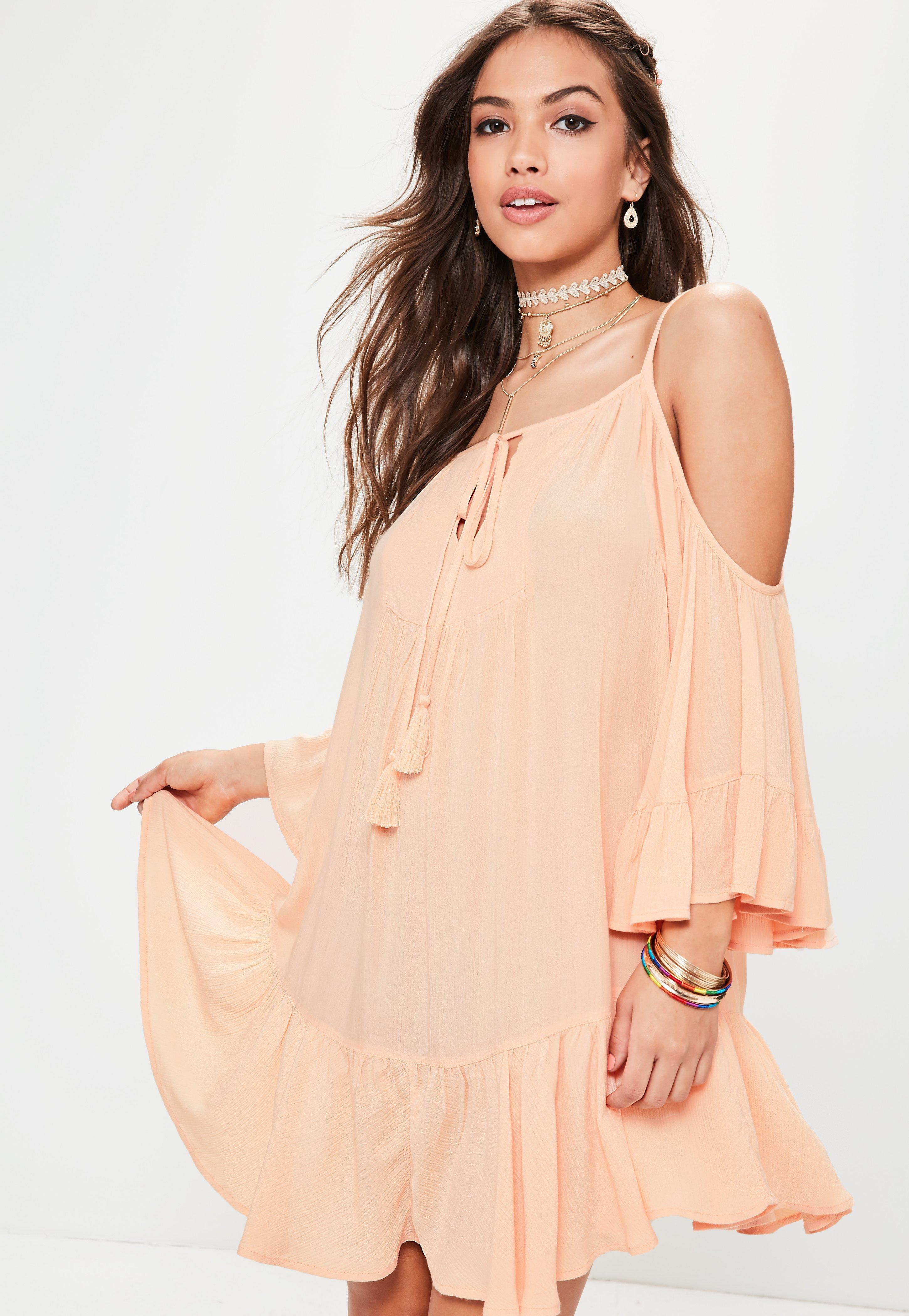9f10cb7679 Lyst - Missguided Orange Cheesecloth Cold Shoulder Tassel Dress in ...
