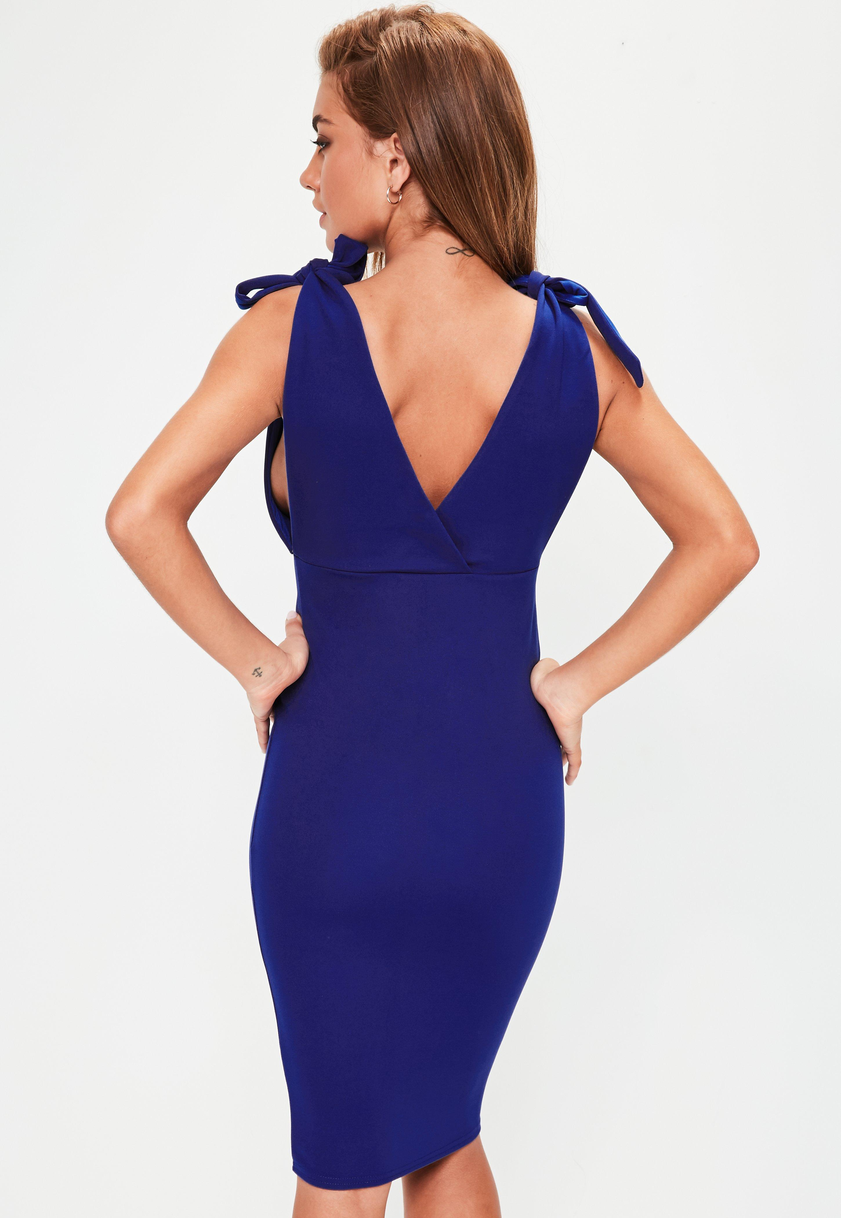 Lyst - Missguided Blue Bow Shoulder Plunge Midi Dress in Blue e83274bbe