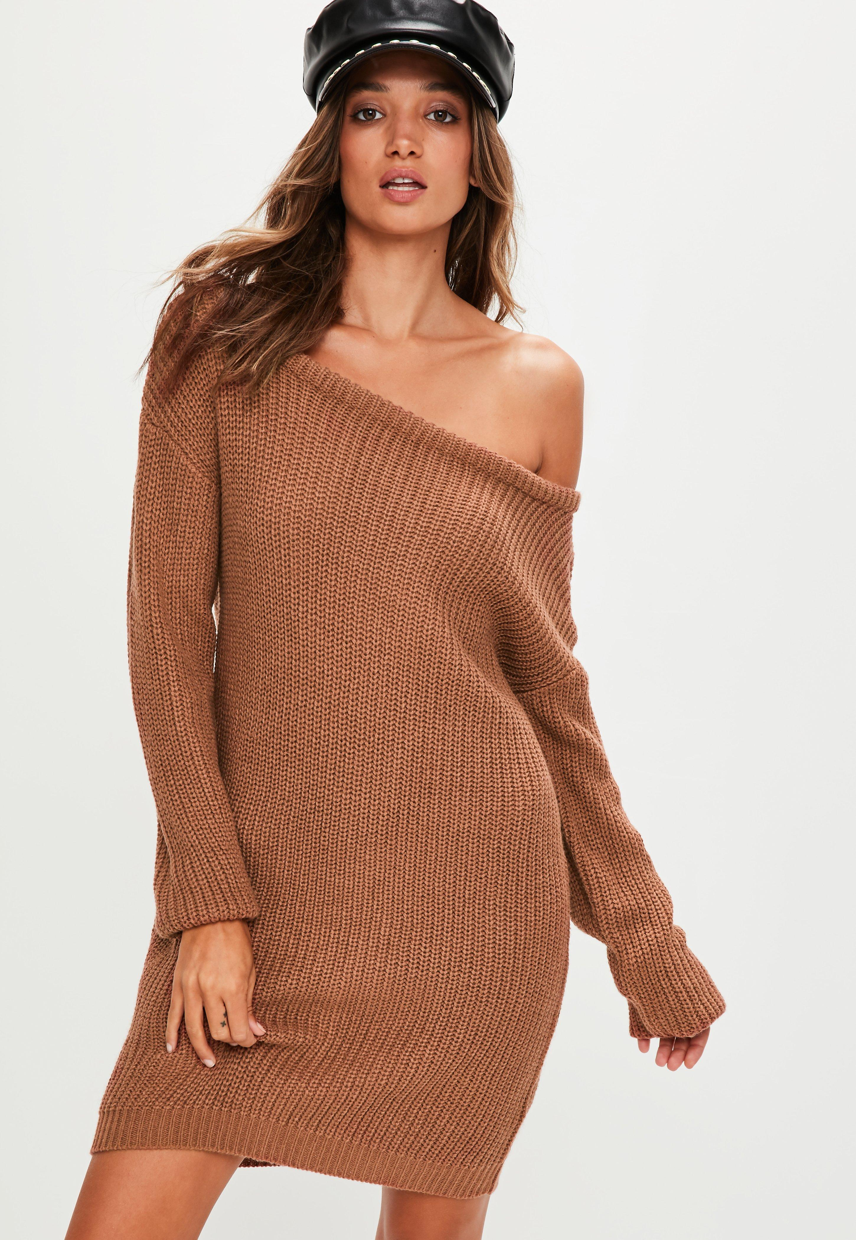 eb82bb30434 Lyst - Missguided Brown Off Shoulder Knitted Jumper Dress in Brown