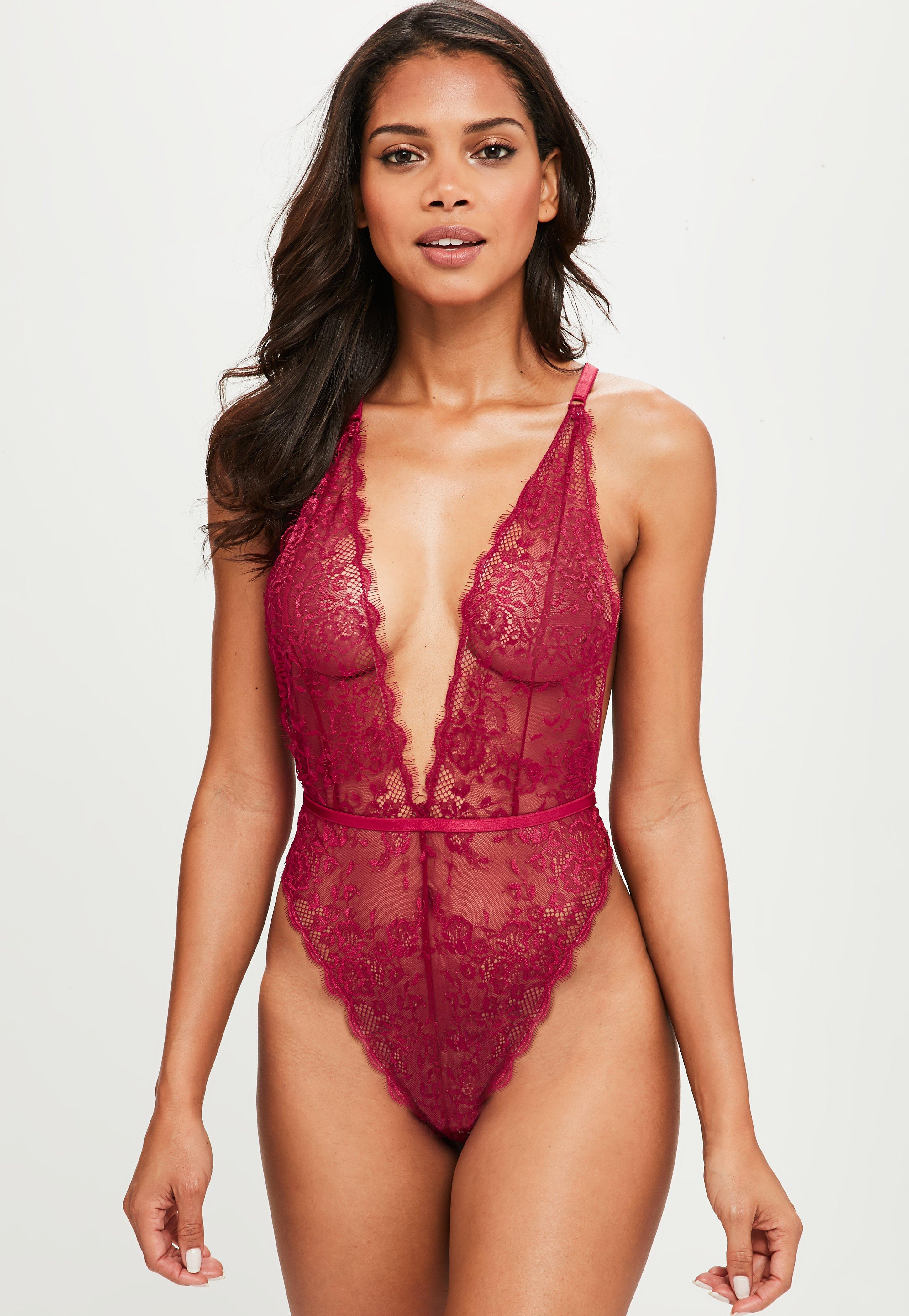 755c4d5495 Lyst - Missguided Burgundy Delicate Lace Bodysuit in Red