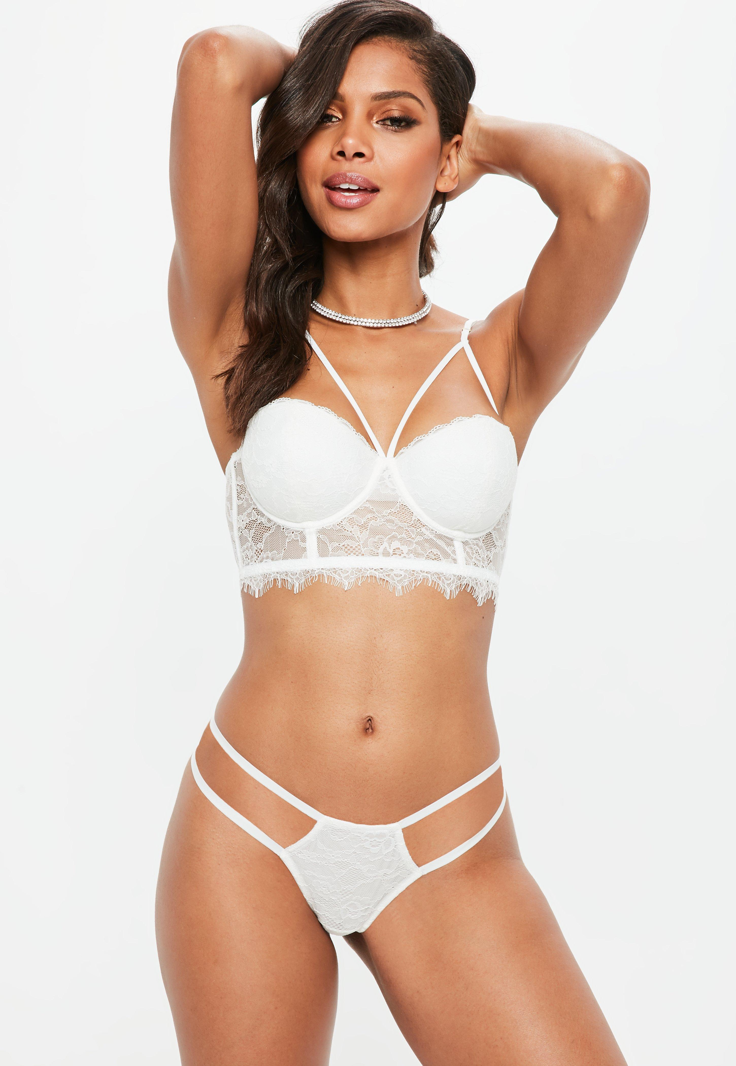 7324088d90fed Lyst - Missguided Harness Balconette Lace Bra White in White