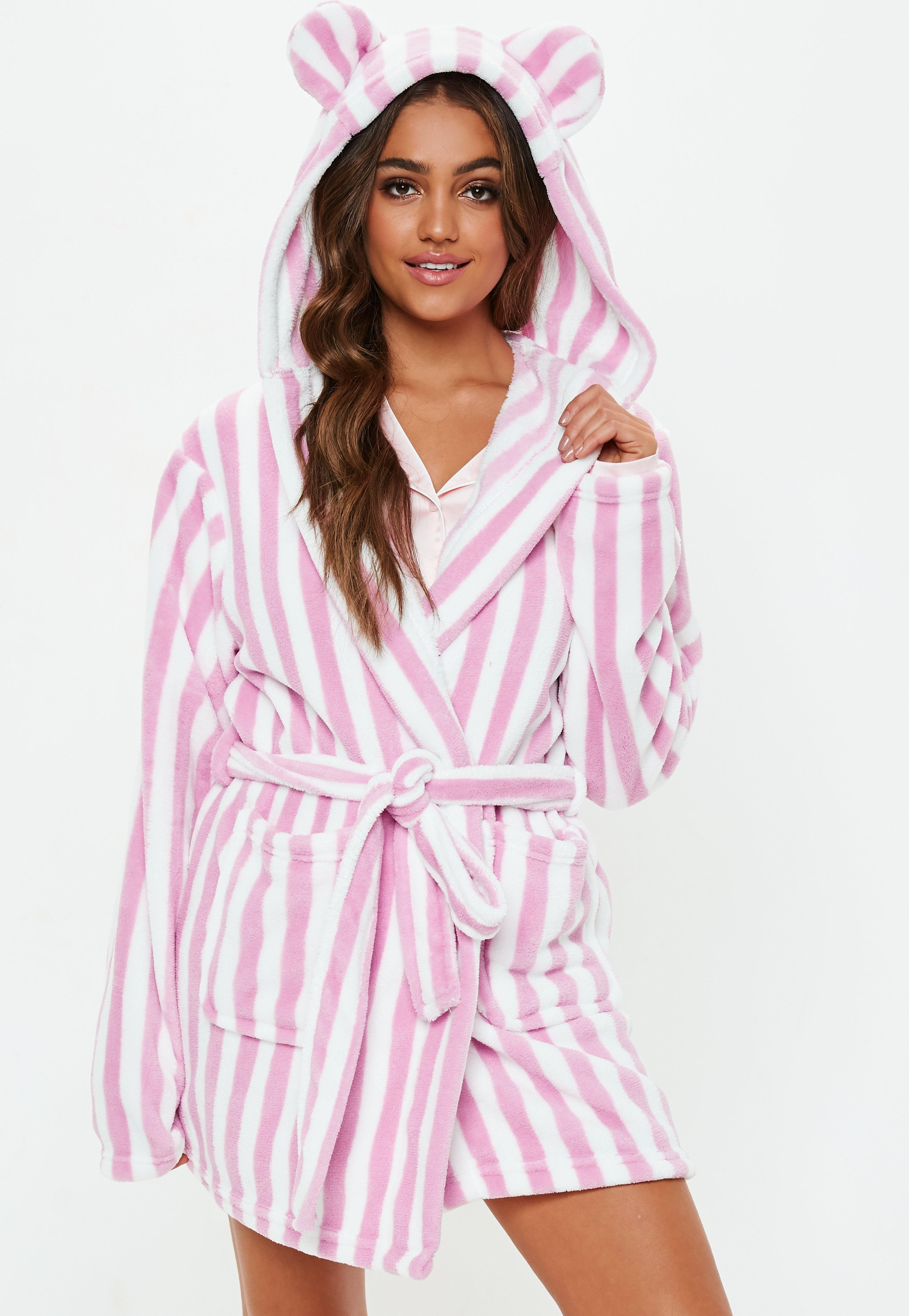 Lyst - Missguided Pink Stripe Fluffy Dressing Gown in Pink