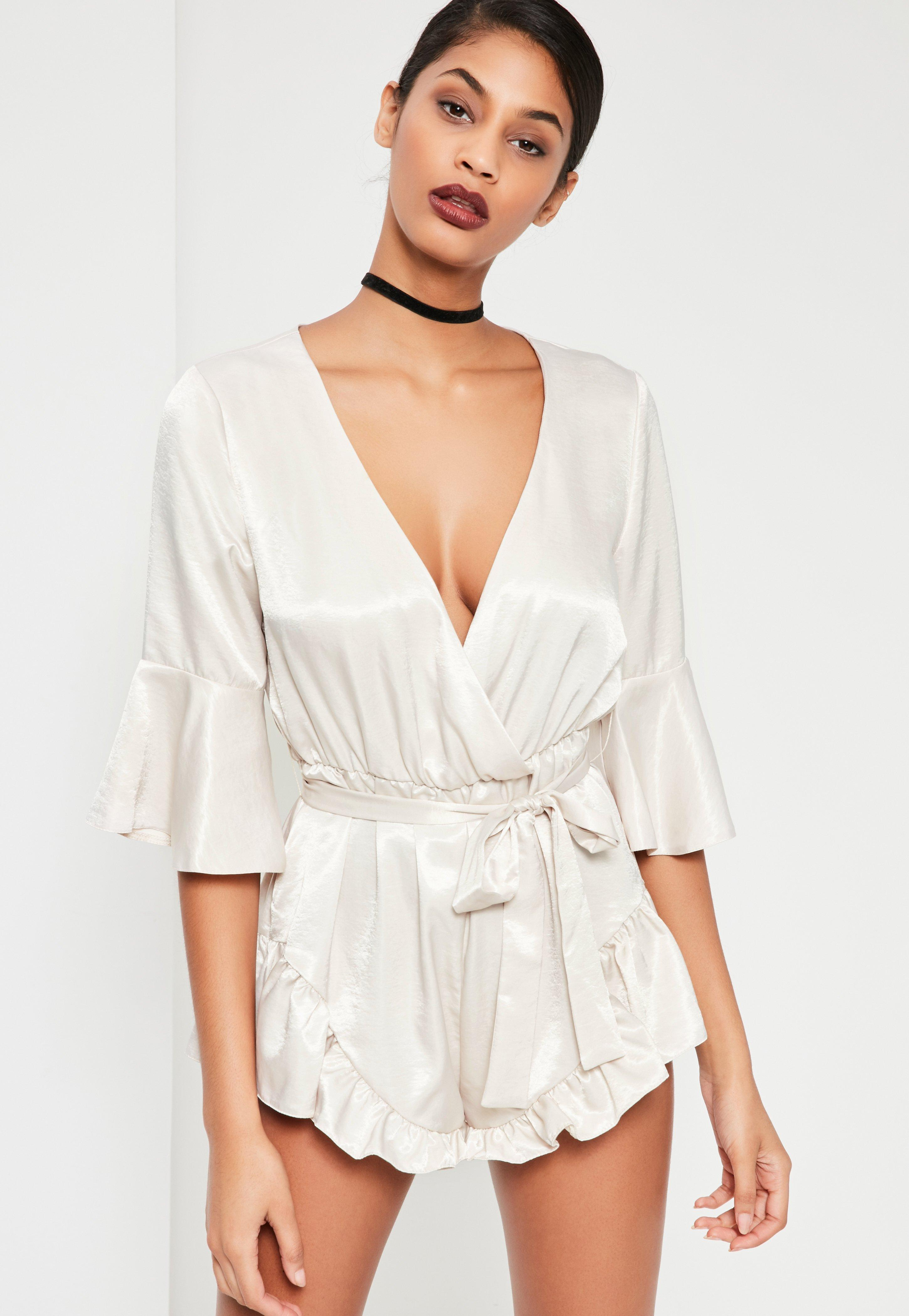 0606a52398a Missguided white silky flutter short detail playsuit in white lyst jpg  2900x4200 Silky playsuit