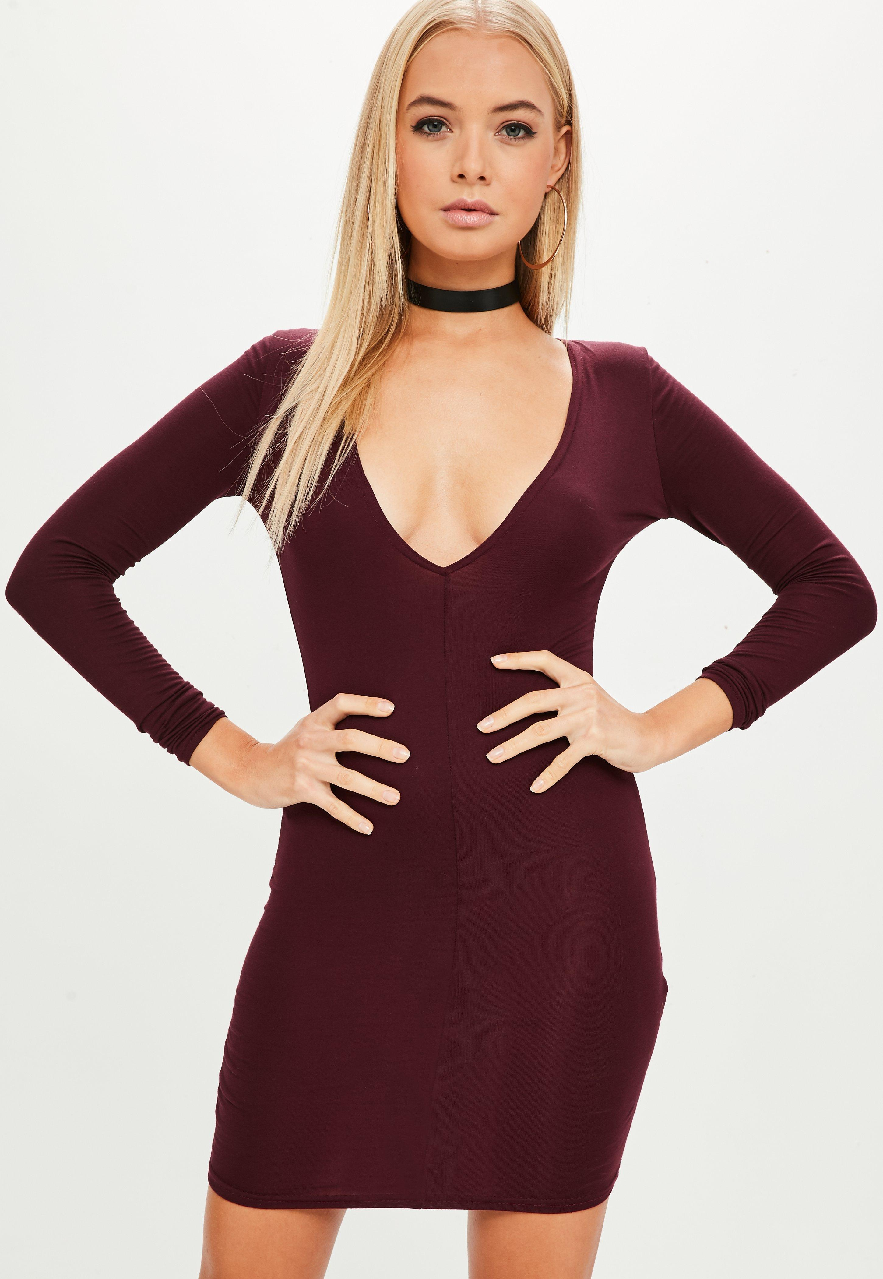 Plunge Burgundy Missguided In Bodycon Purple Lyst Dress vwnN8mOPy0