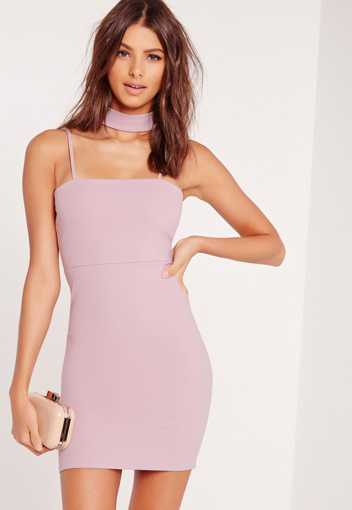 a6d7035d57 Lyst - Missguided Choker Neck Bodycon Dress Mauve in Pink