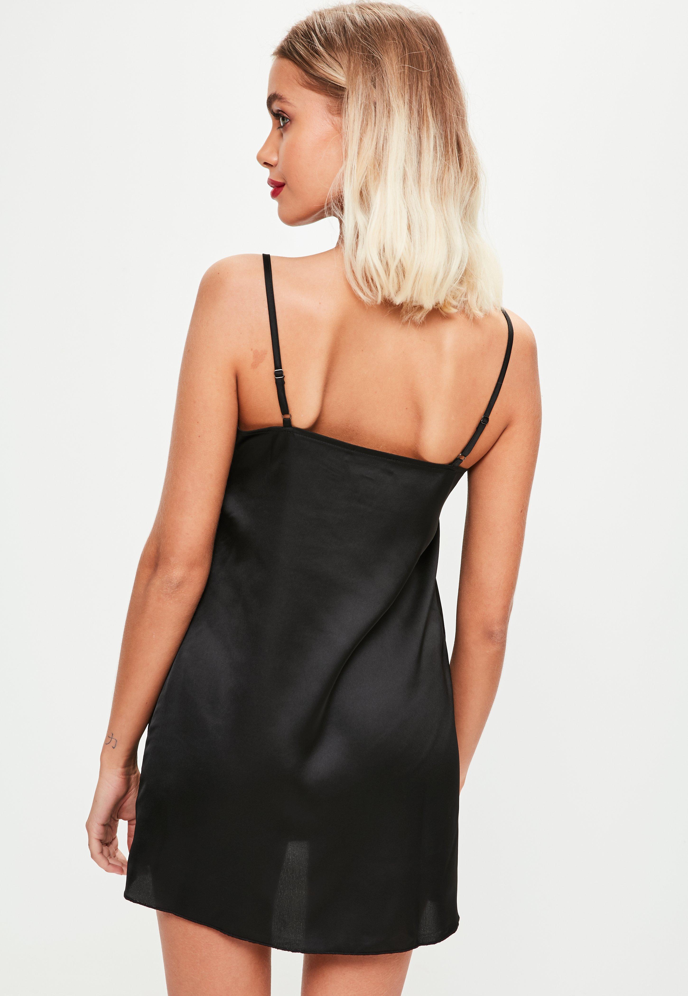 bc8db27bc400b6 Missguided Black Satin Lace Insert Slip Dress in Black - Lyst