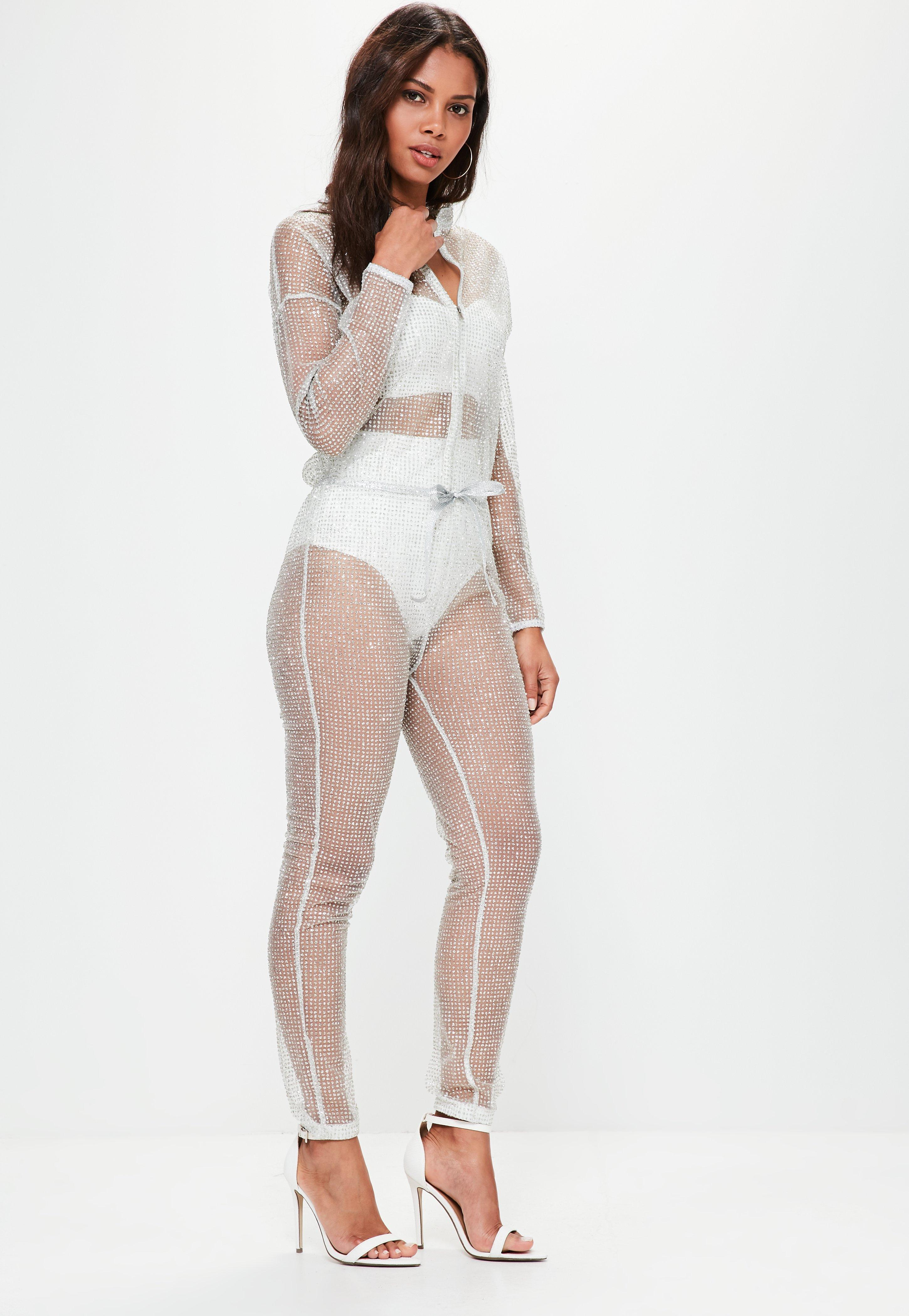 d2d82cc1fd0 Missguided Silver Sparkle Metallic Jumpsuit in Metallic - Lyst