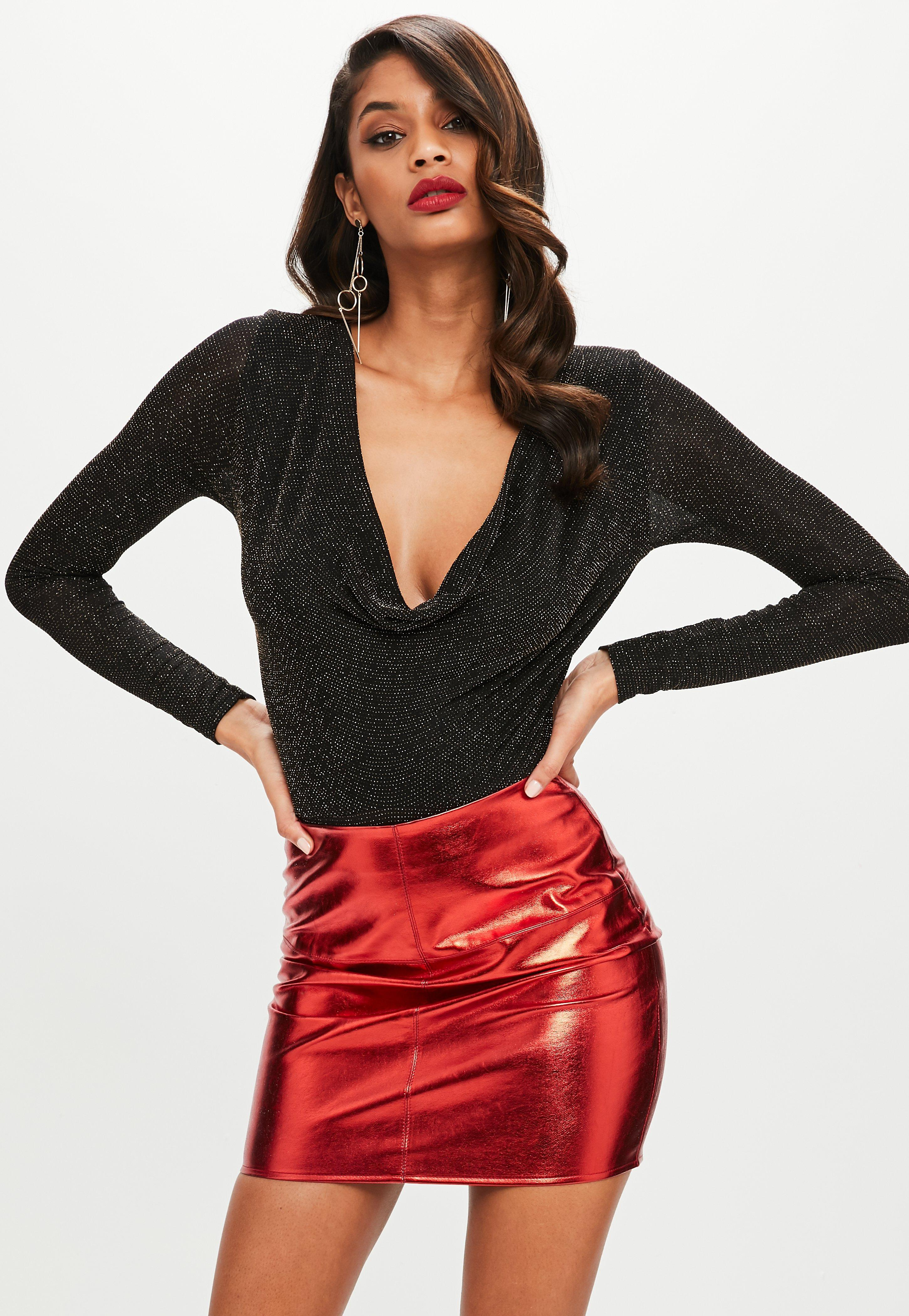 7f040a97c3 Missguided Black Cowl Neck Long Sleeve Glitter Bodysuit in Black - Lyst
