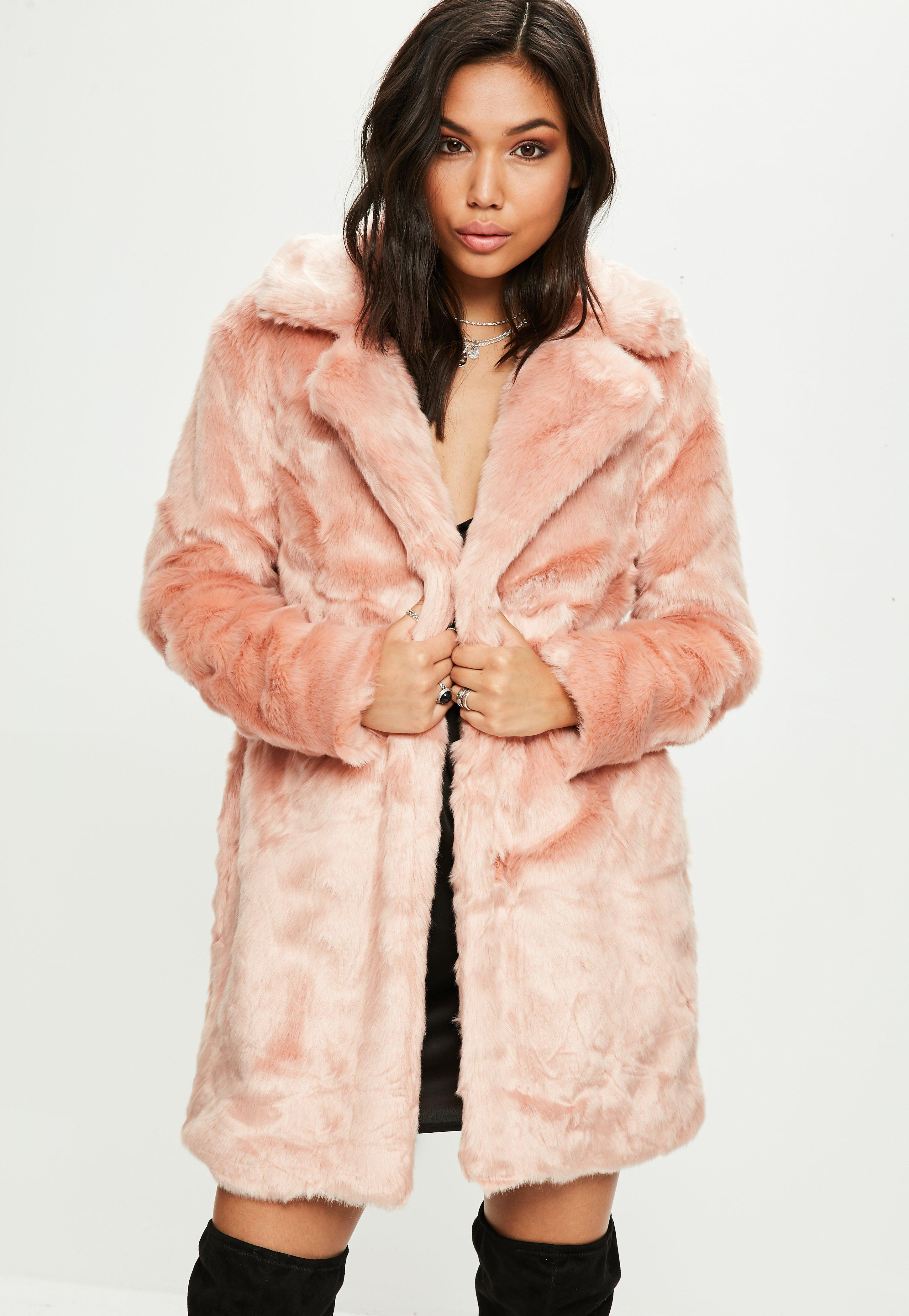 787b788dcaed Missguided Pink Faux Fur Coat in Pink - Lyst