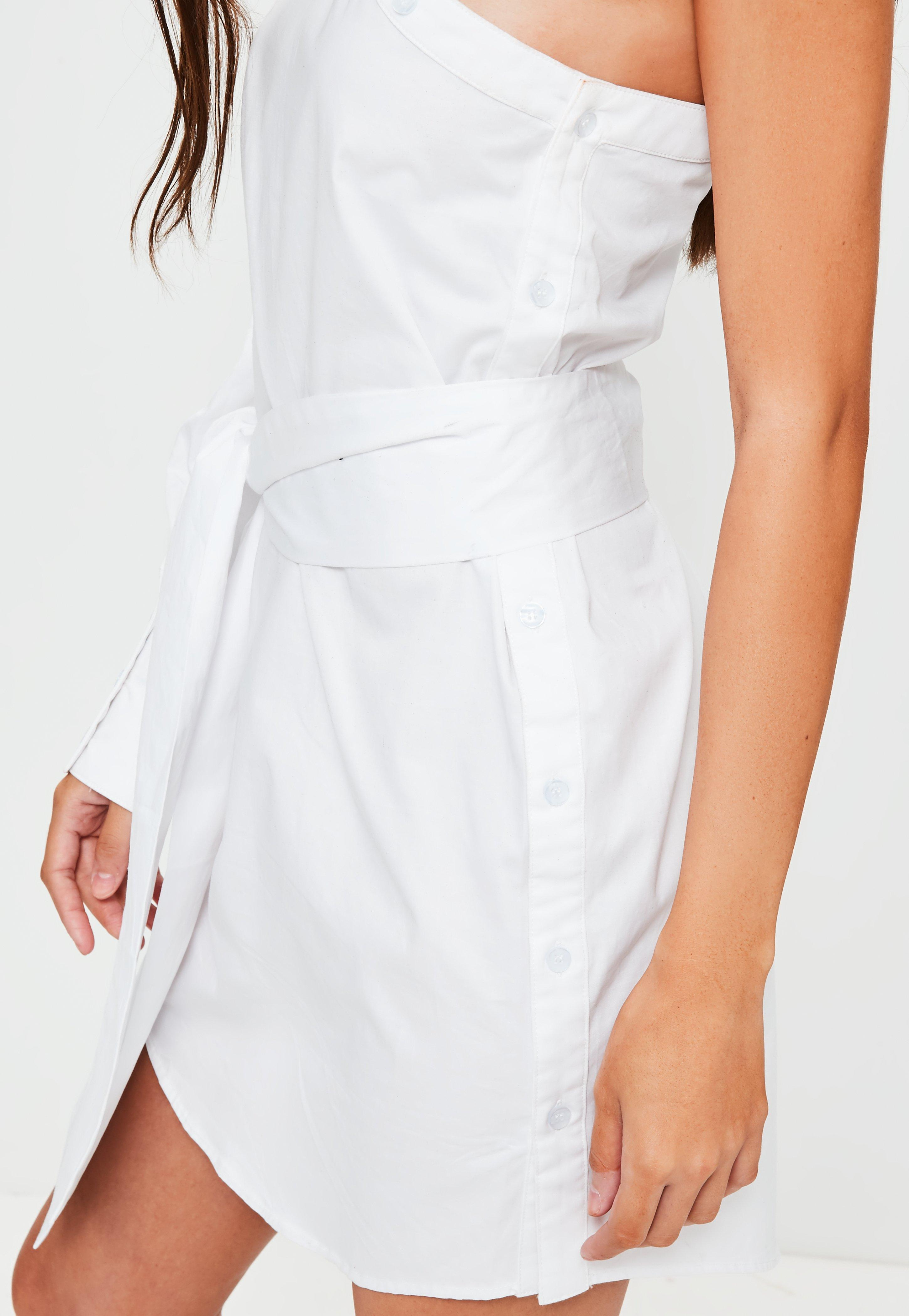 b8e22f6d413926 Lyst - Missguided White One Shoulder Unbutton Shirt Dress in White