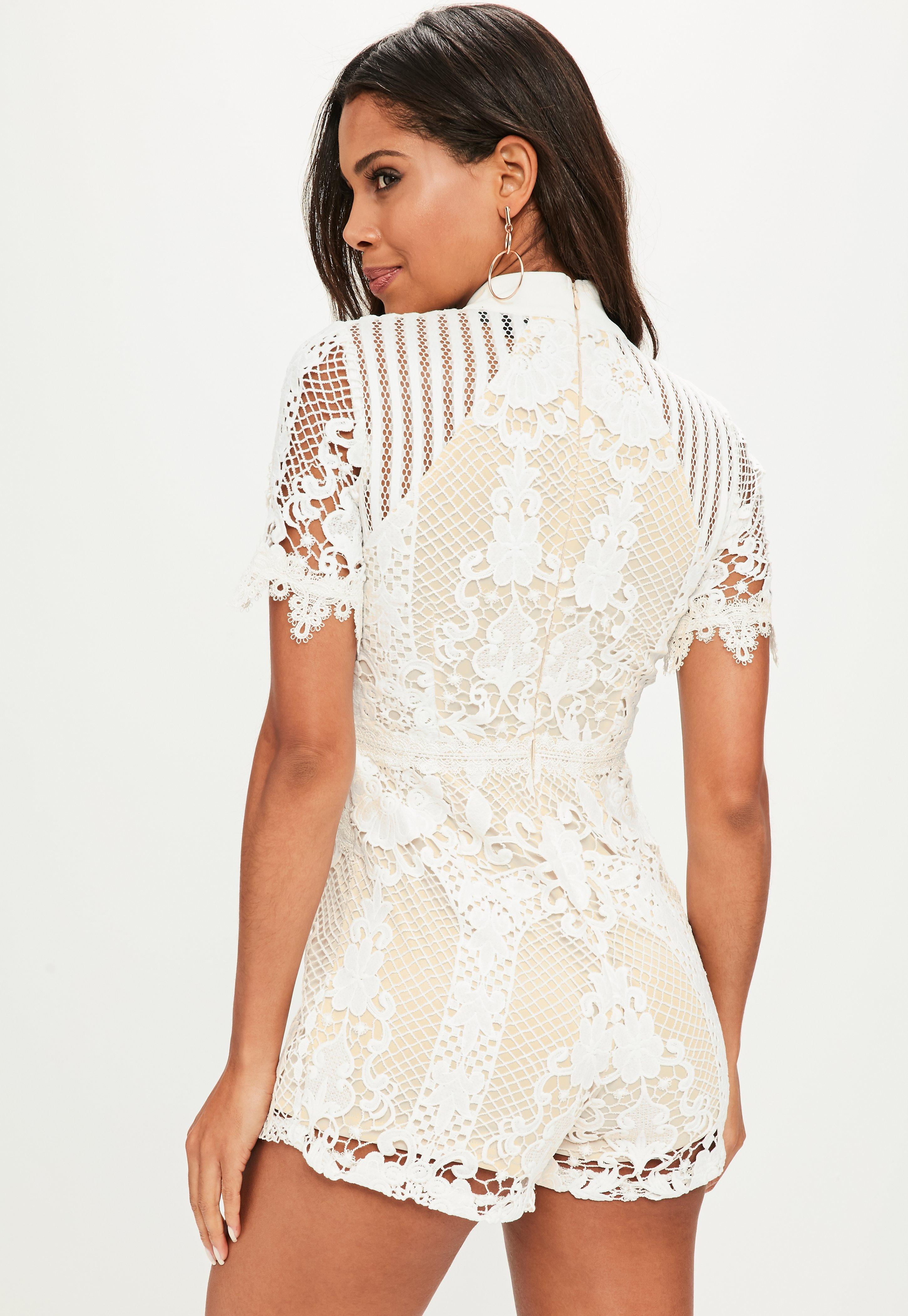 fd0dfcaac2e Lyst - Missguided White High Neck Playsuit in White