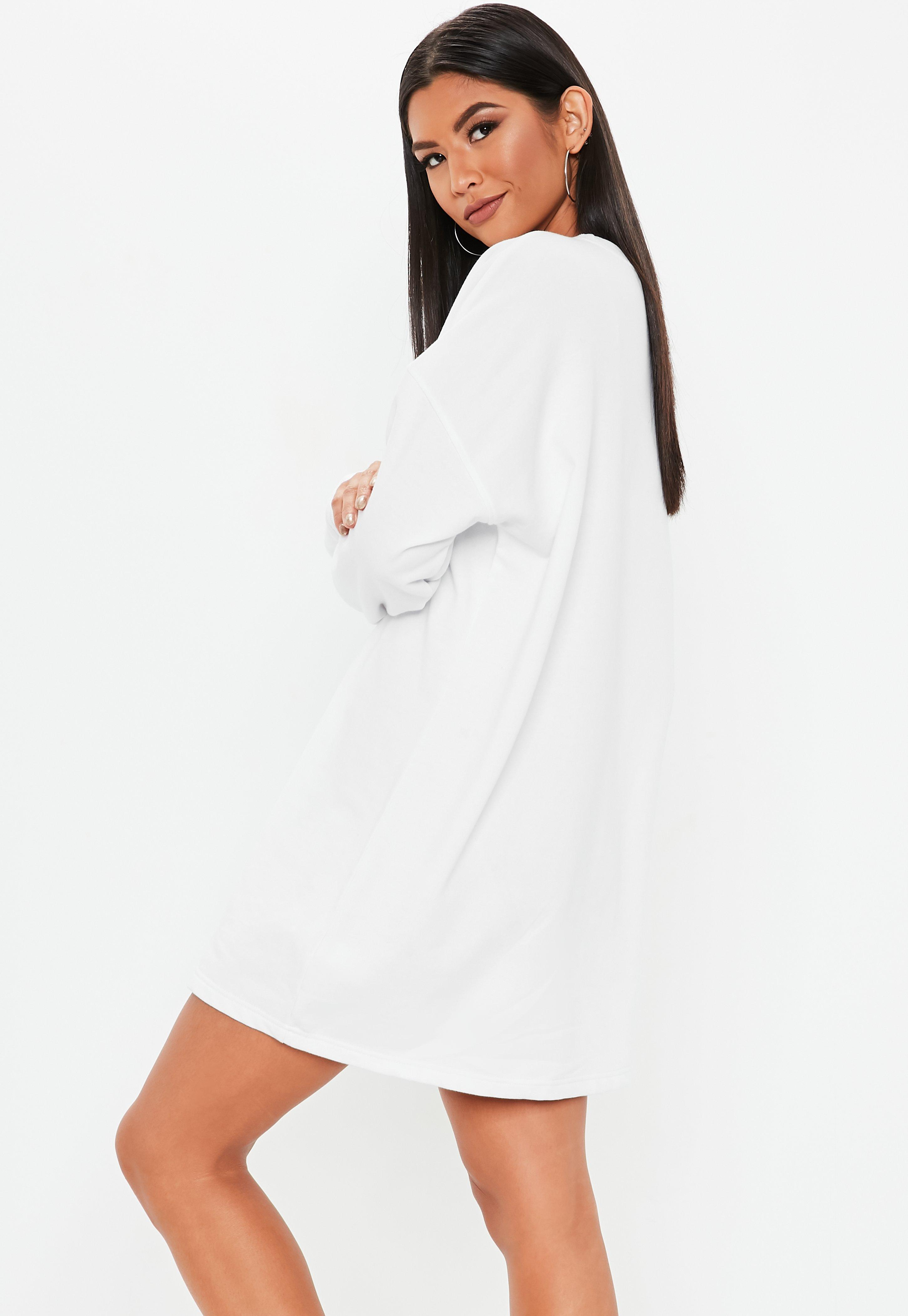 96a03411d5d Missguided - White Oversized Saturday Sweater Dress - Lyst. View fullscreen