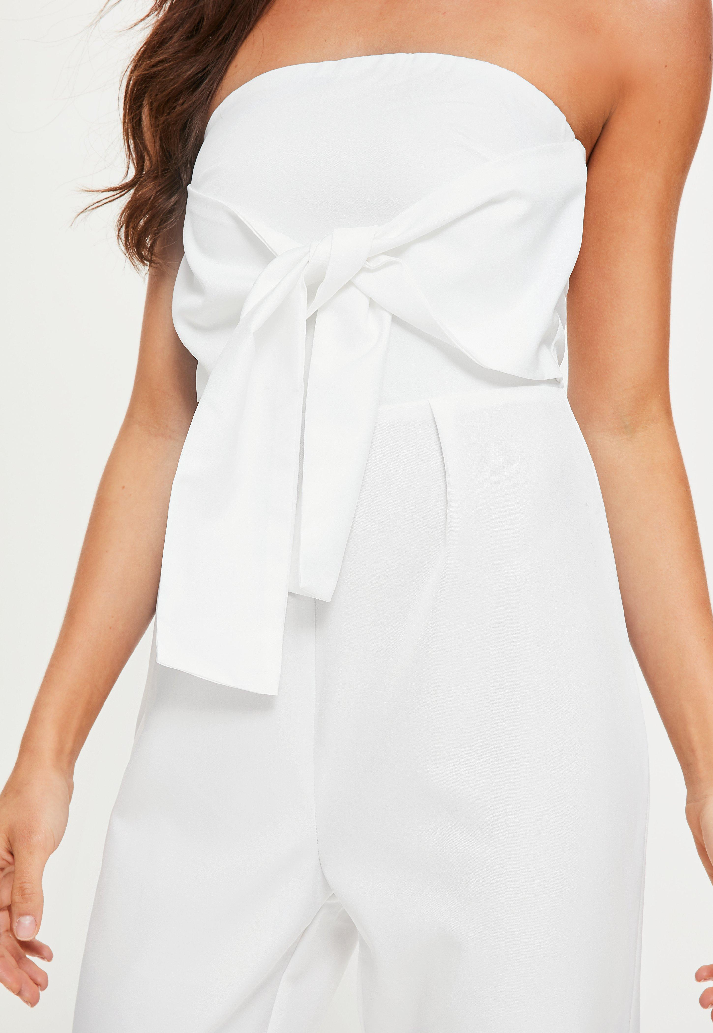 946e8848d9c Lyst - Missguided White Tie Front Bandeau Jumpsuit in White