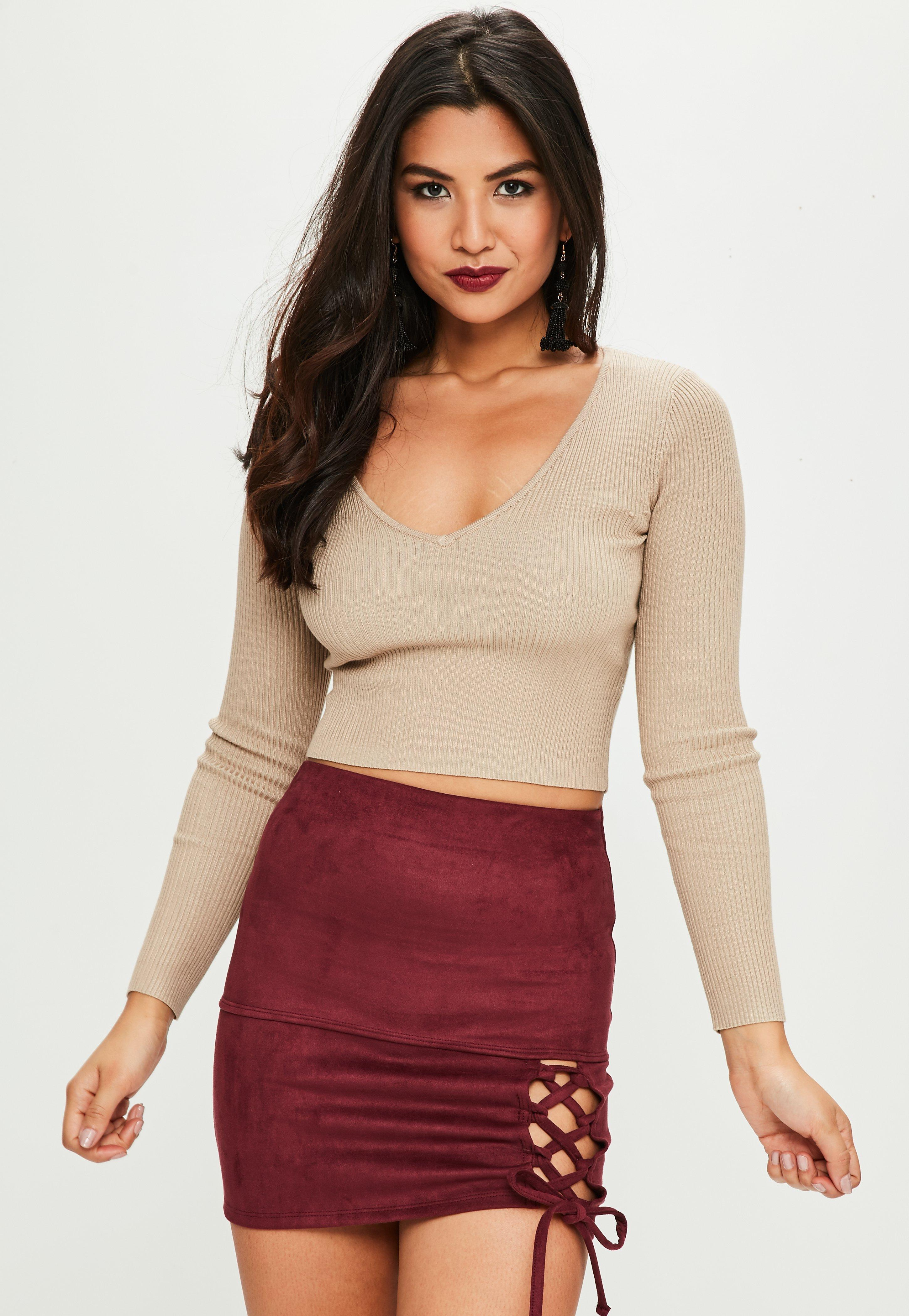 0b799a008 Lyst - Missguided Burgundy Faux Suede Mini Skirt