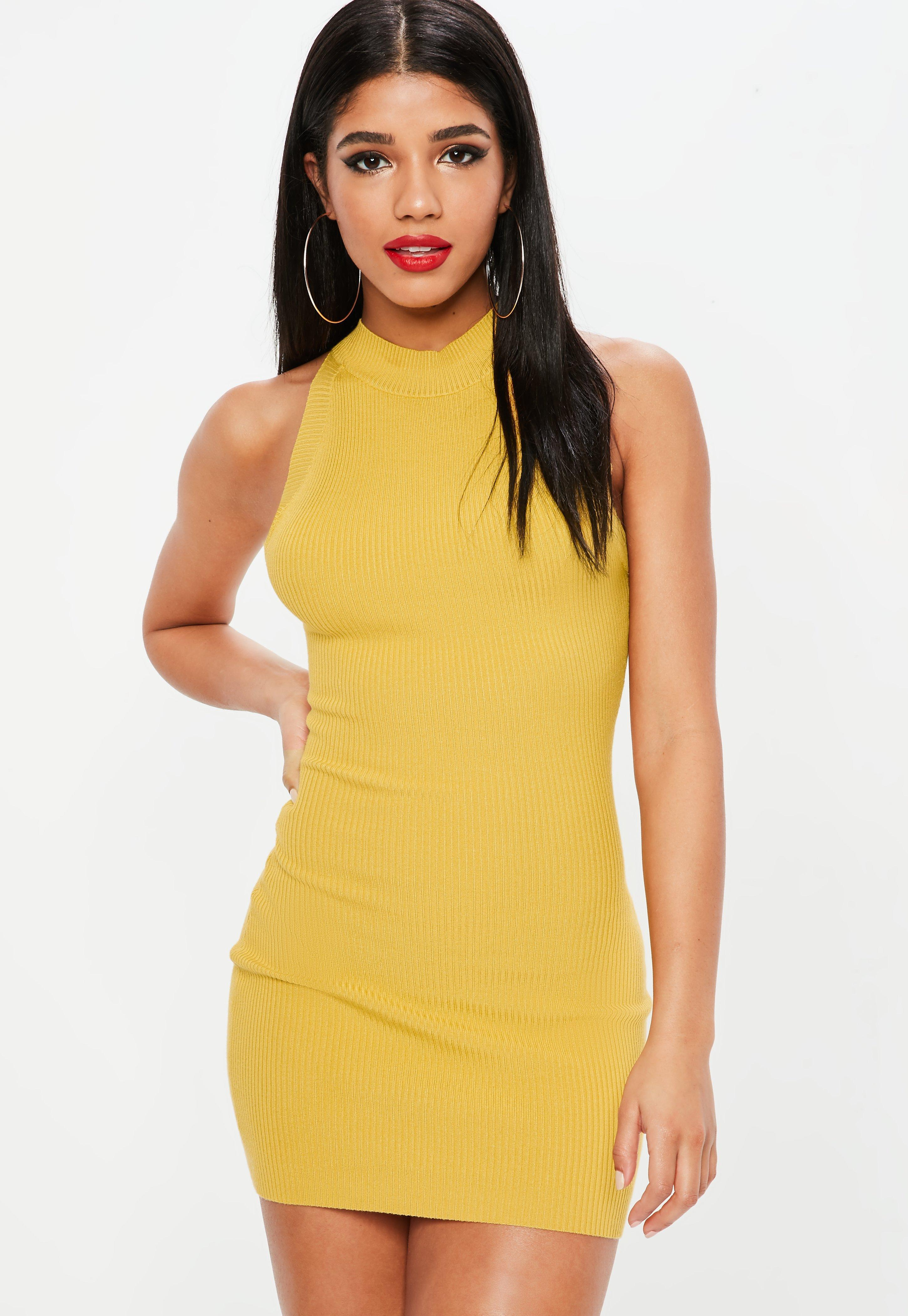 b9c51e7186 Lyst - Missguided Yellow High Neck Ribbed Mini Dress in Yellow