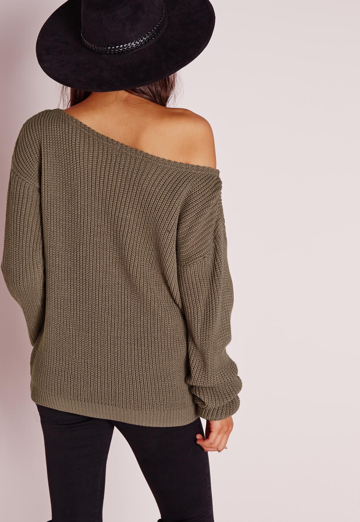 Missguided Off Shoulder Jumper Taupe in Brown | Lyst