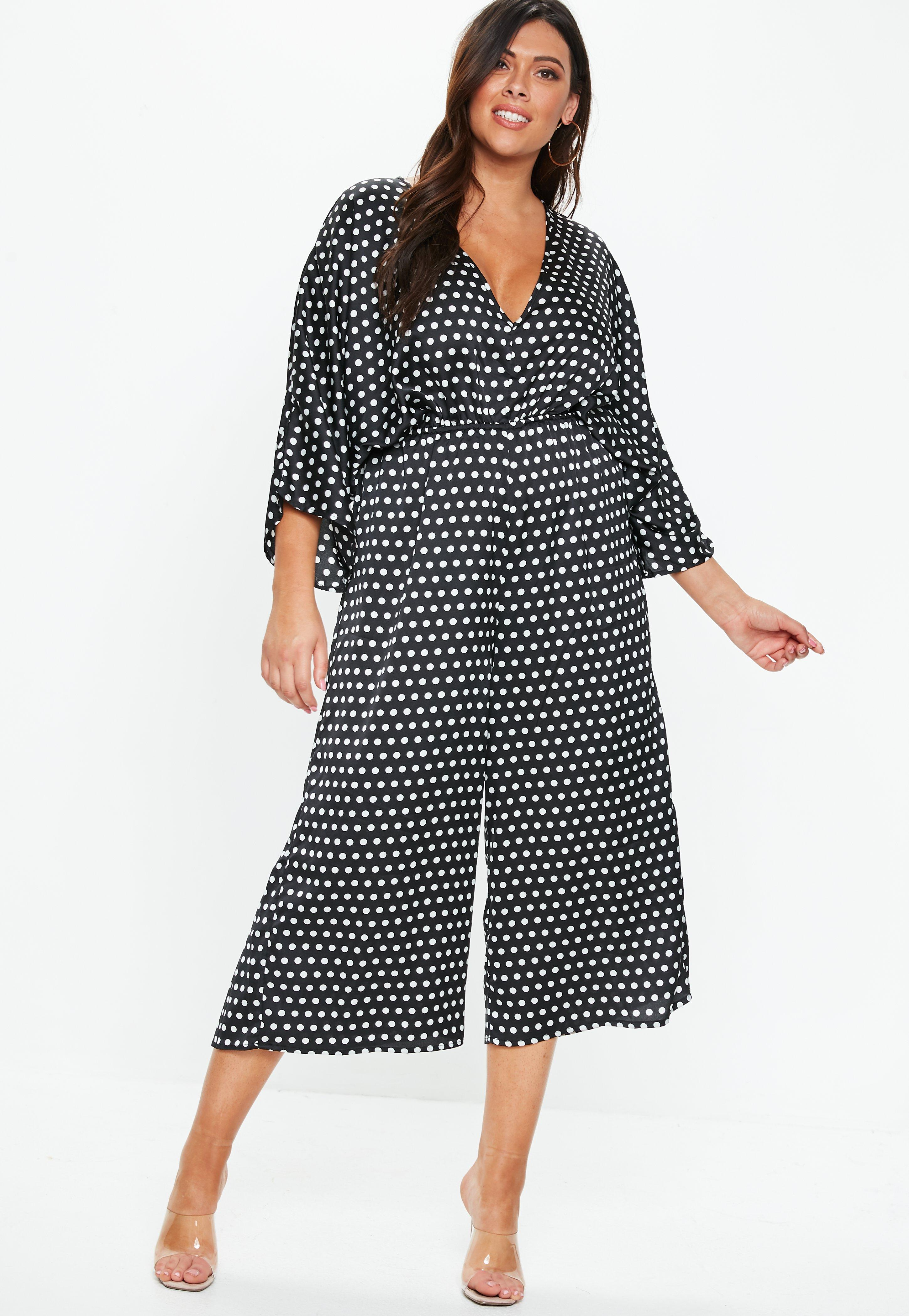 d9f466b901f Missguided - Plus Size Black Kimono Sleeve Polka Dot Jumpsuit - Lyst. View  fullscreen