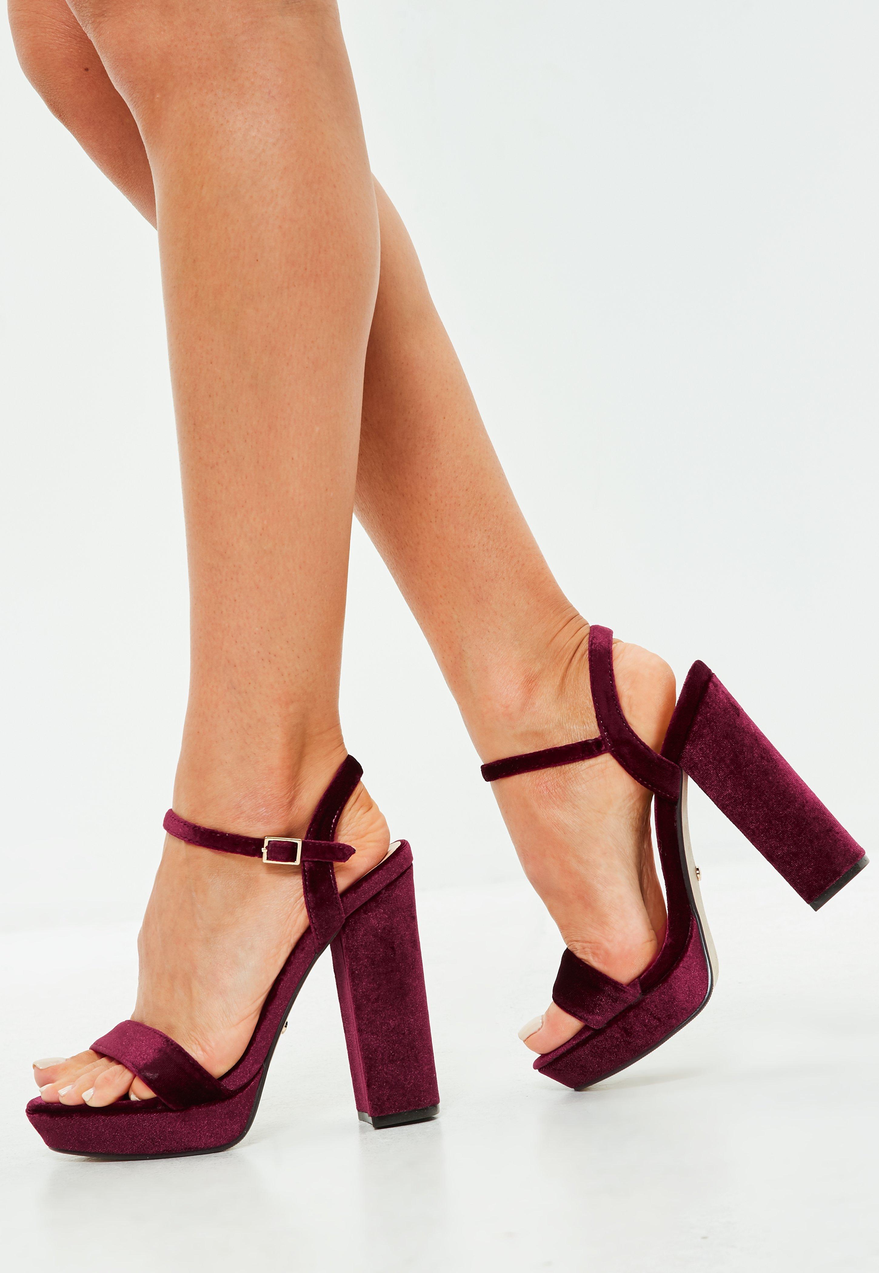 8e16ccb69e Missguided Wine Velvet Two Strap Platform Block Heels - Lyst