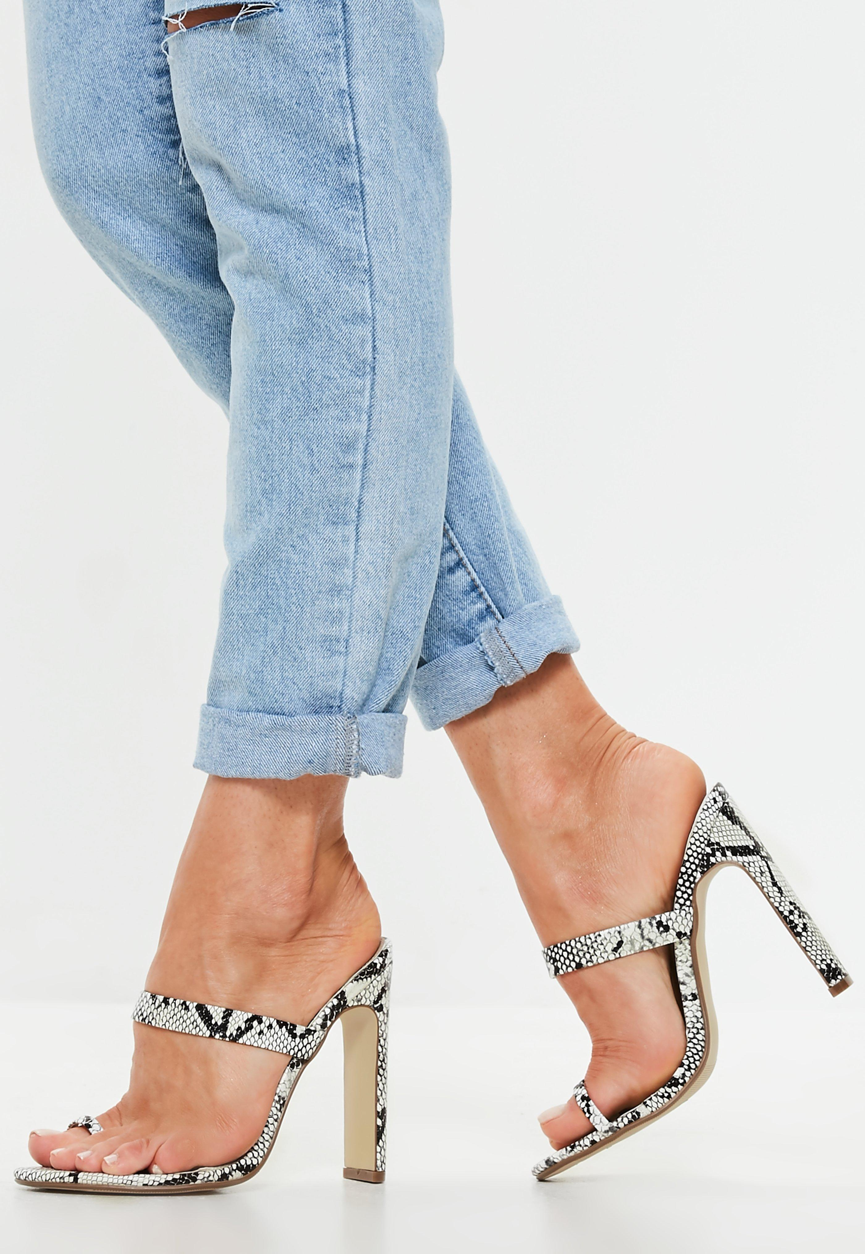4b1c96c6b8 Missguided White Snake Print Toe Post Barely There Mules in White - Lyst