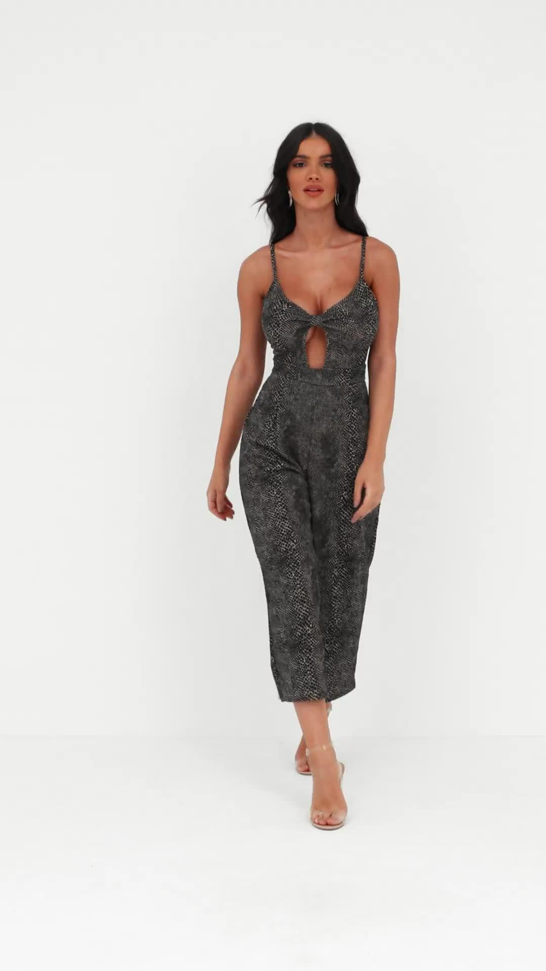 7776e6626dc Missguided - Brown Snake Print Cut Out Culotte Jumpsuit - Lyst. View  fullscreen