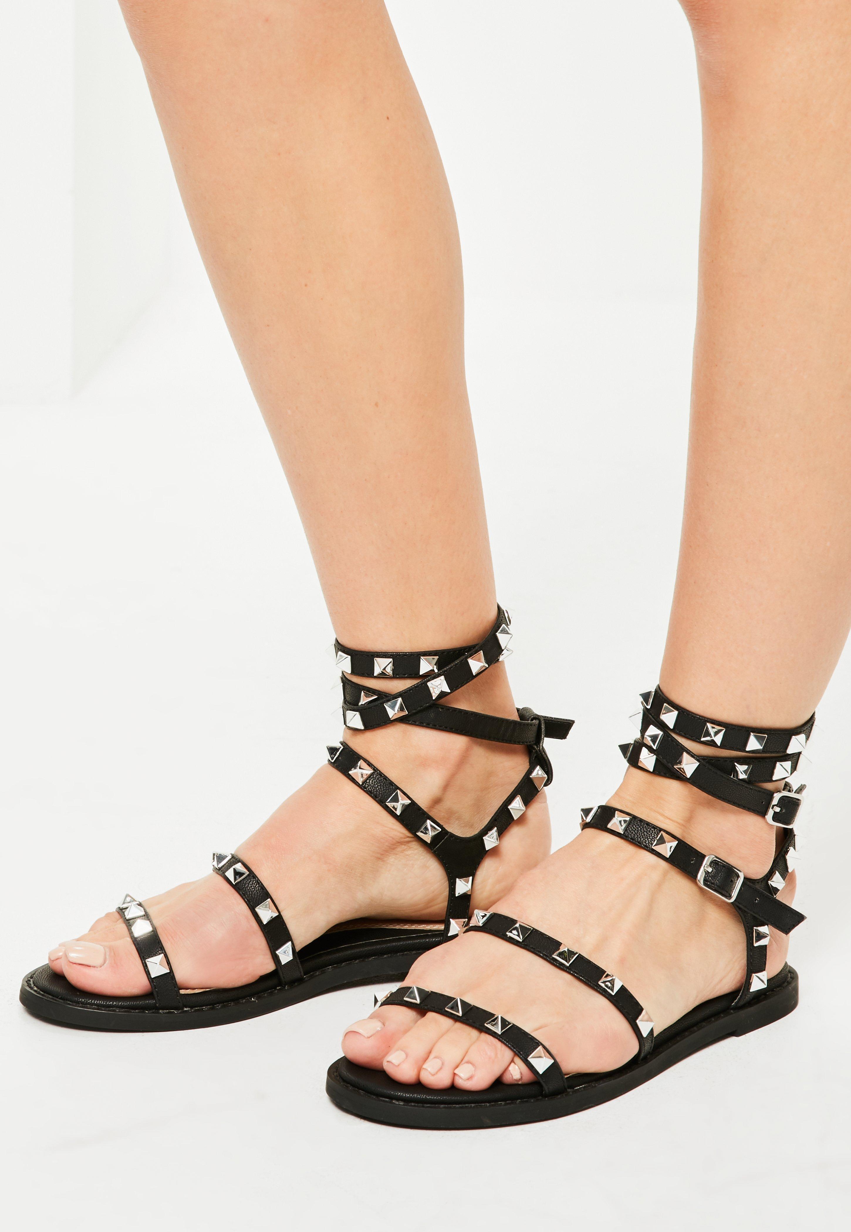 61dbdf8e6688f5 Missguided Black Studded Gladiator Sandals in Black - Lyst