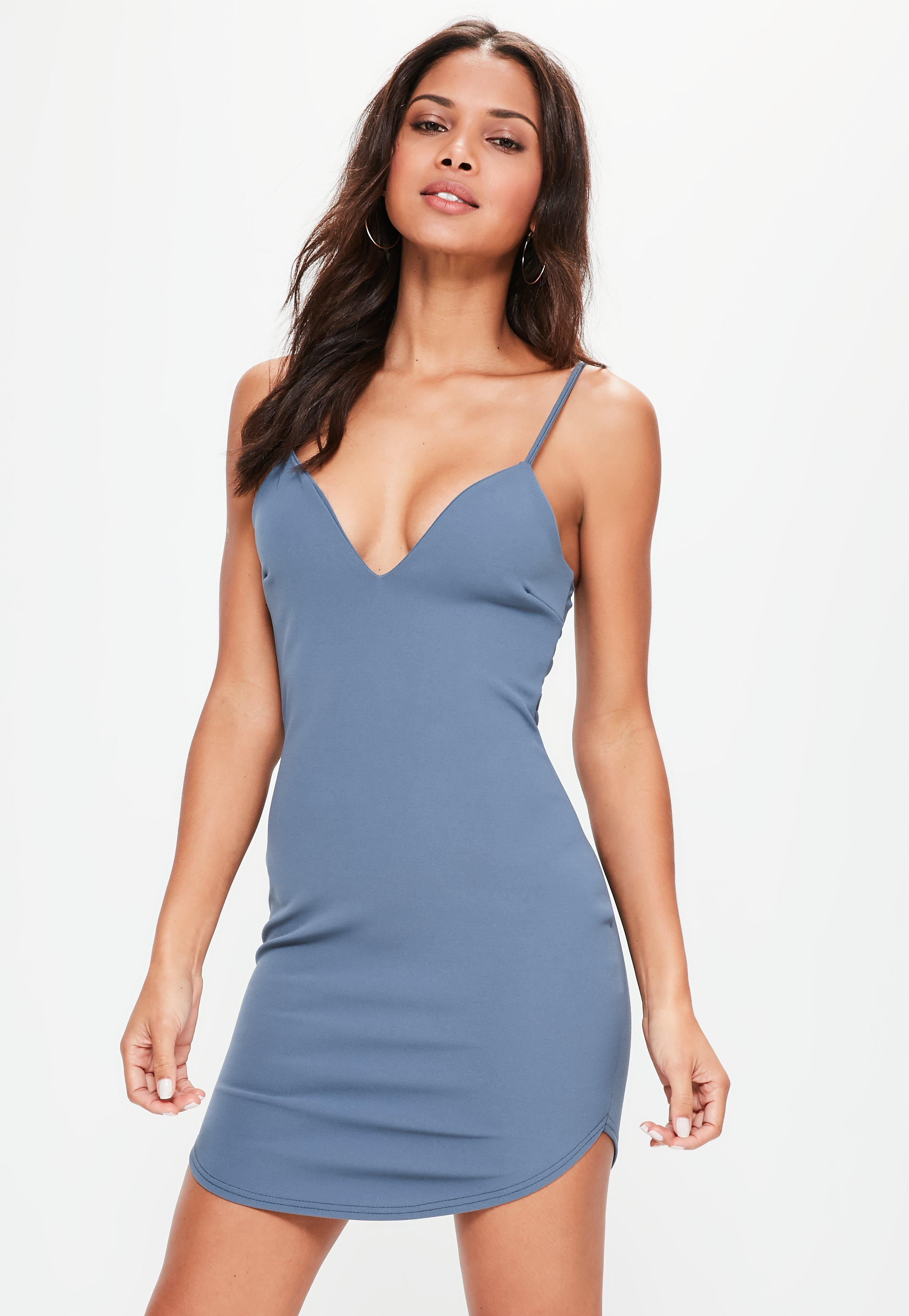 fc97da1c8d8d Missguided Blue Strappy Plunge Bodycon Dress in Blue - Lyst